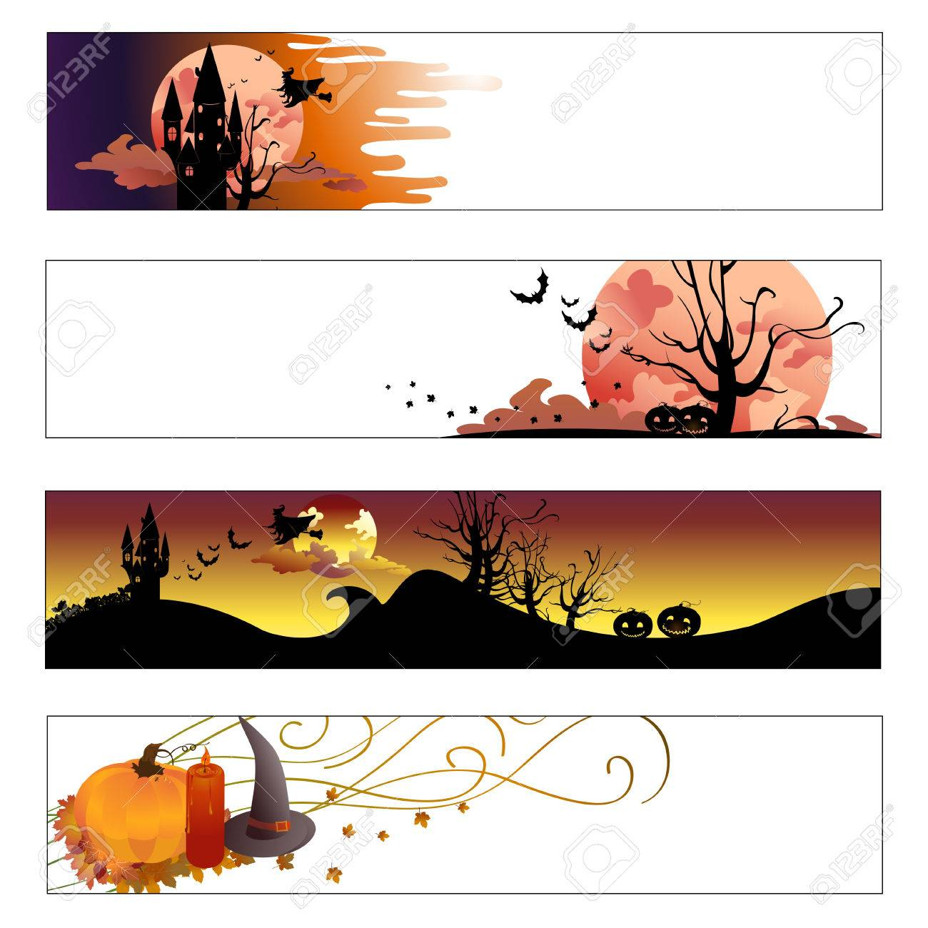 Vector illustration of halloween banners set Stock Vector - 4724848
