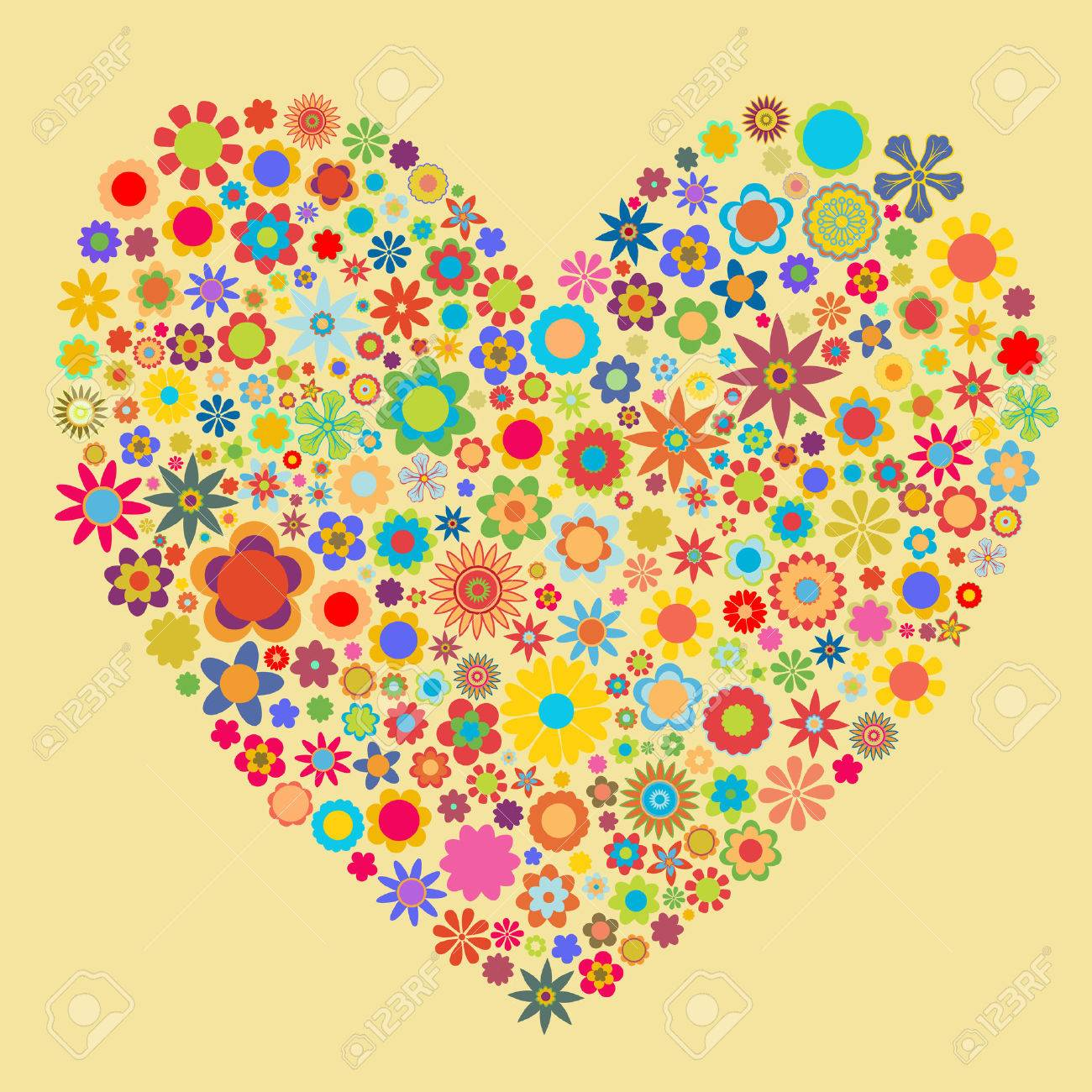 Vector illustration of heart  pattern made up of flower shapes. Good  for Valentine Cards. Stock Vector - 4874282