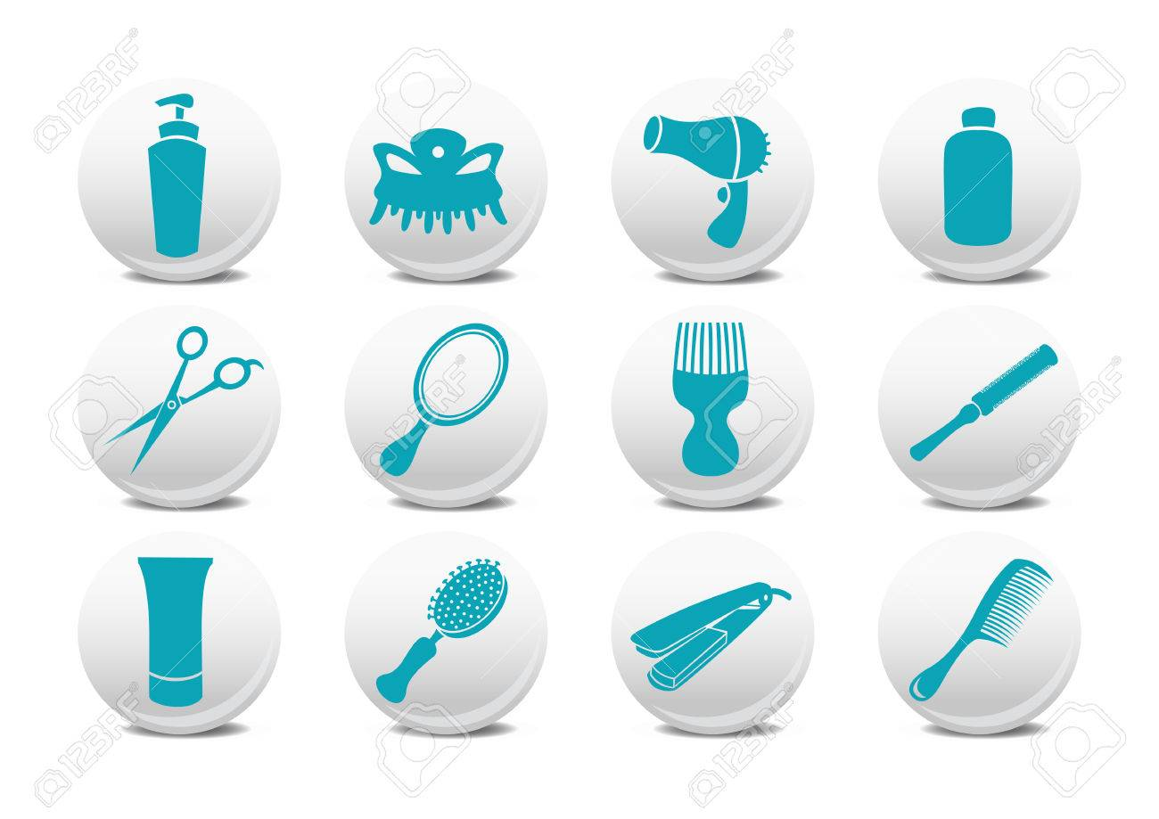 Vector illustration of  buttons set or design elements relating to hairdressing salon. Stock Vector - 4915796