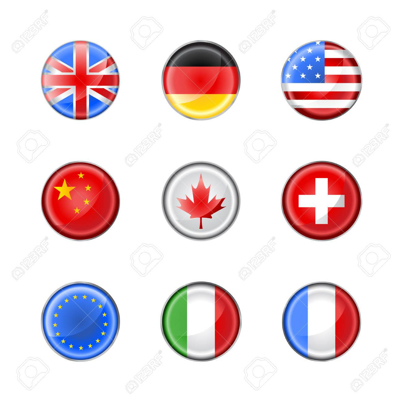 Vector illustration of round buttons set, decorated with the flags of different countries Stock Vector - 4966087