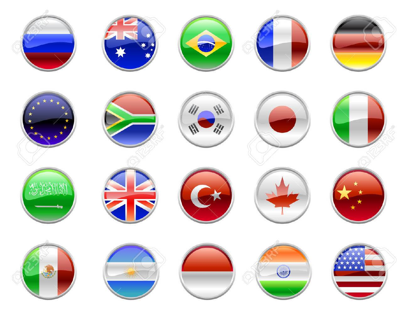 Vector Illustration of round buttons set, decorated with the flags of the world (G20). Stock Vector - 4966097
