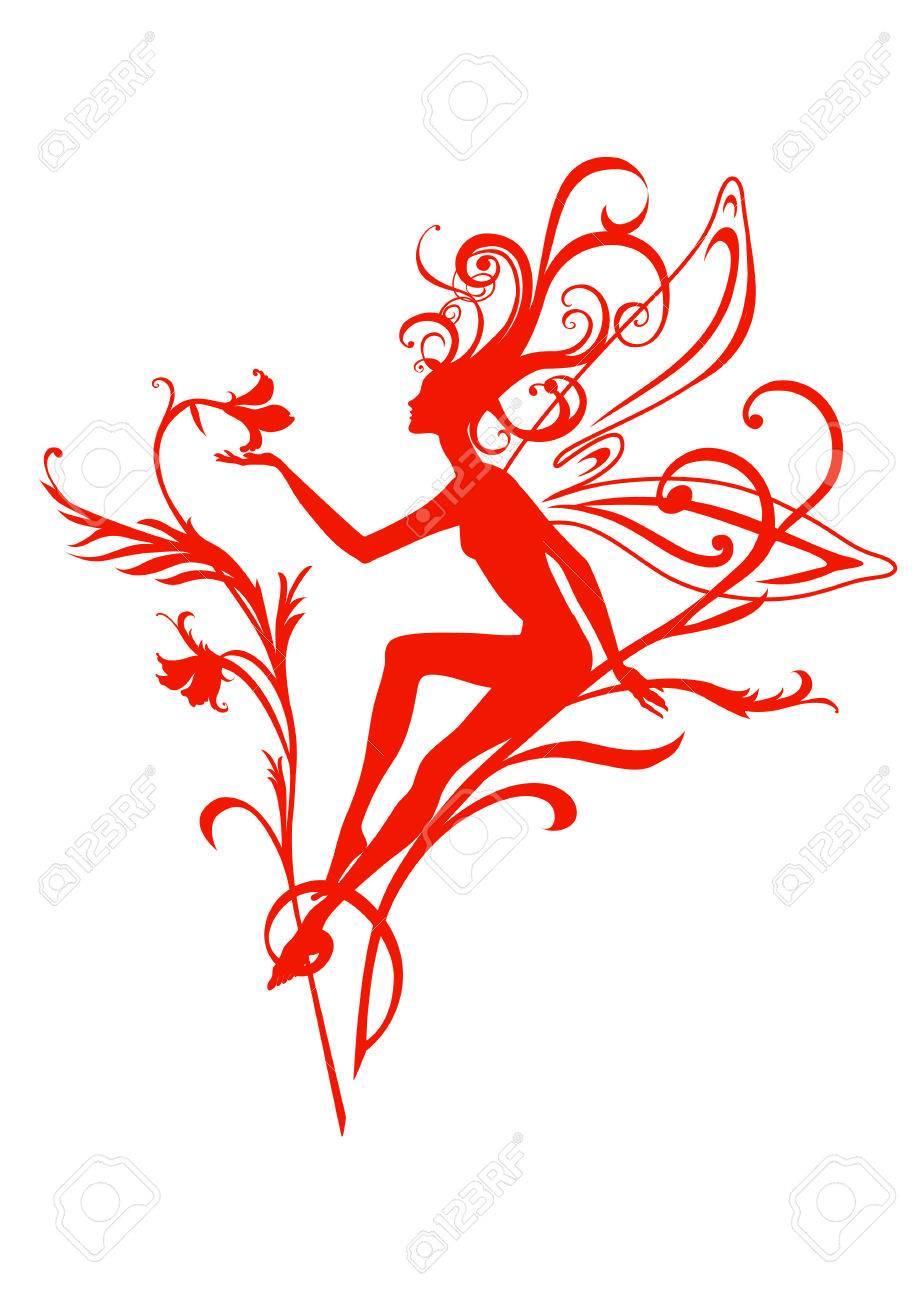 Vector Illustration Silhouette of funky fairy on flower pattern design Stock Vector - 4992049