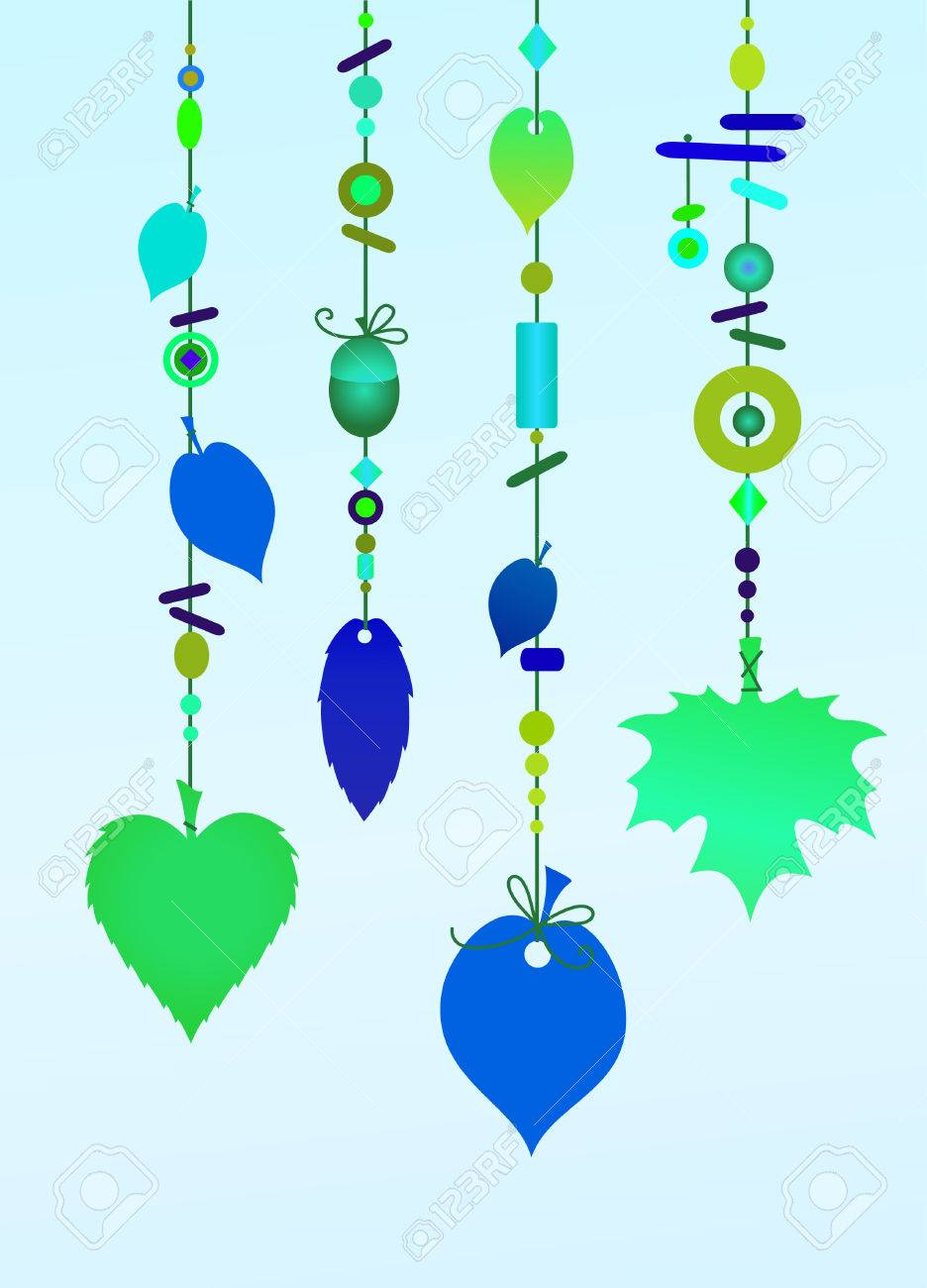 Vector Illustration Of Decorative Wind Chimes With Floral Leaf