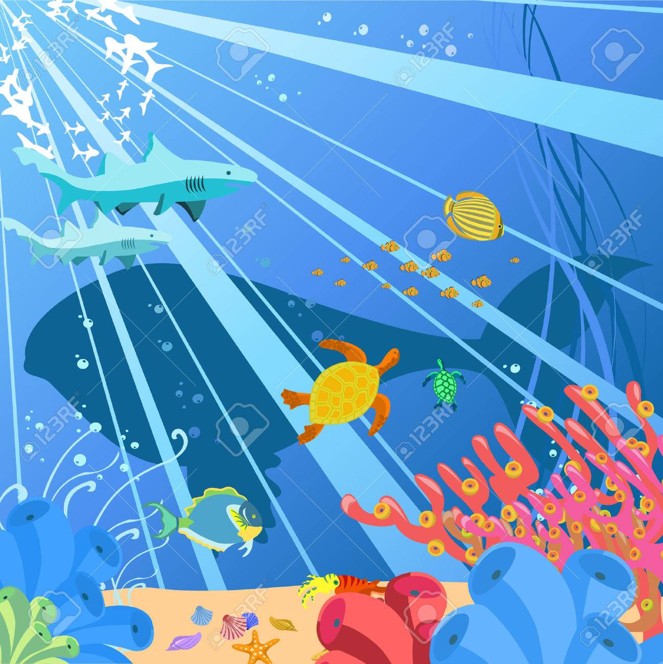 Vector illustration of Colorful background with creatures of the seas. Friendly kids style. Stock Vector - 5082489
