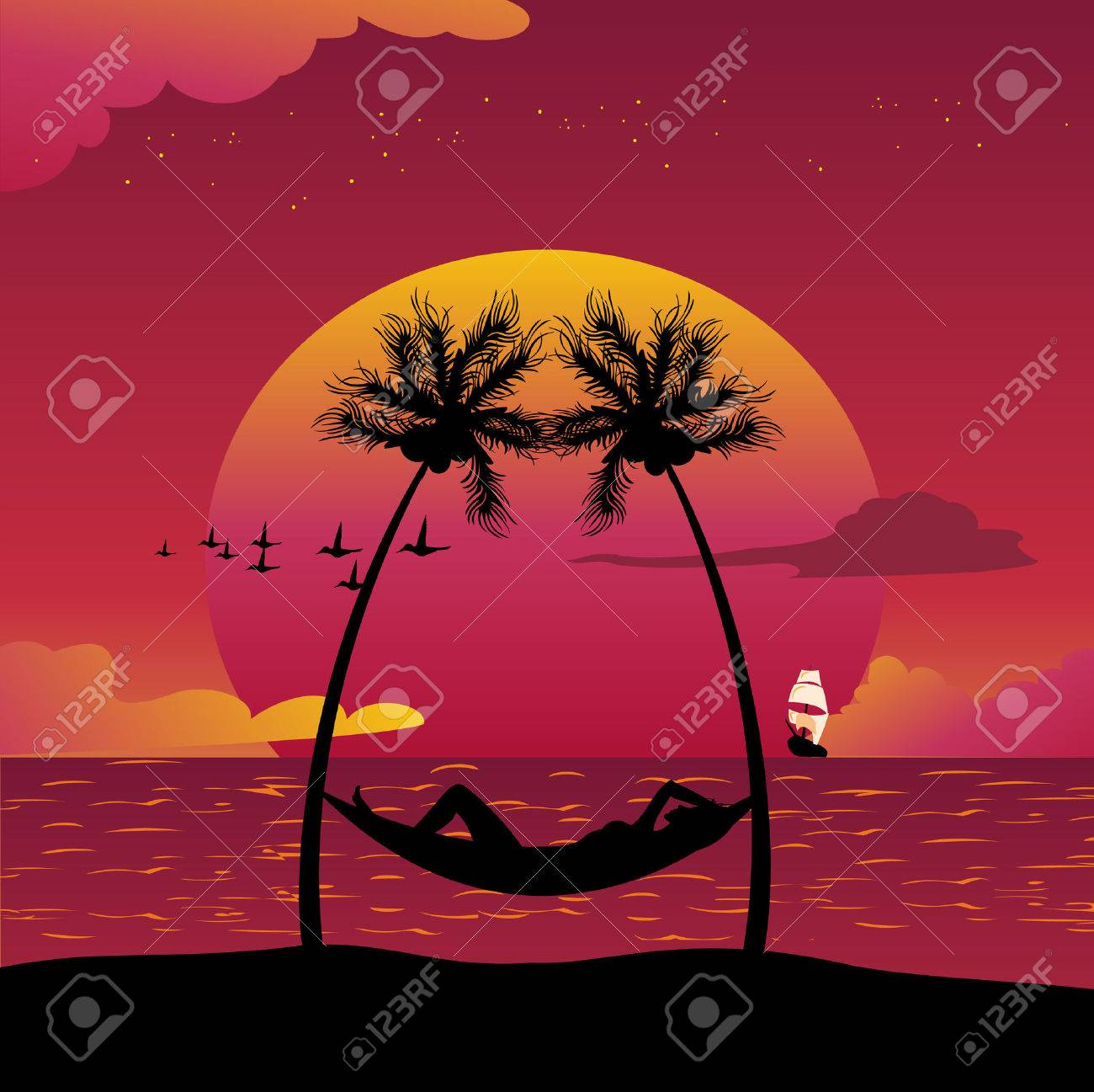 Vector illustration of a girl lying down in a hammock in a paradise island. Stock Vector - 5082475