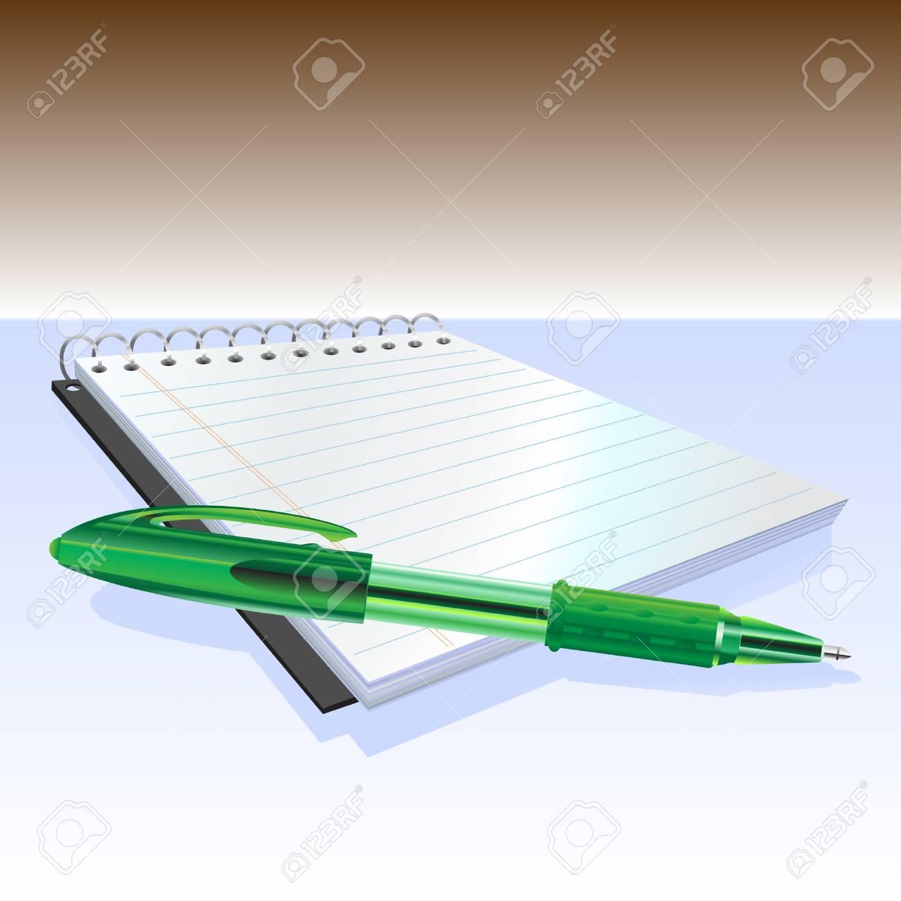 Illustraition of elegant pen and notebook. Stock Vector - 5754505