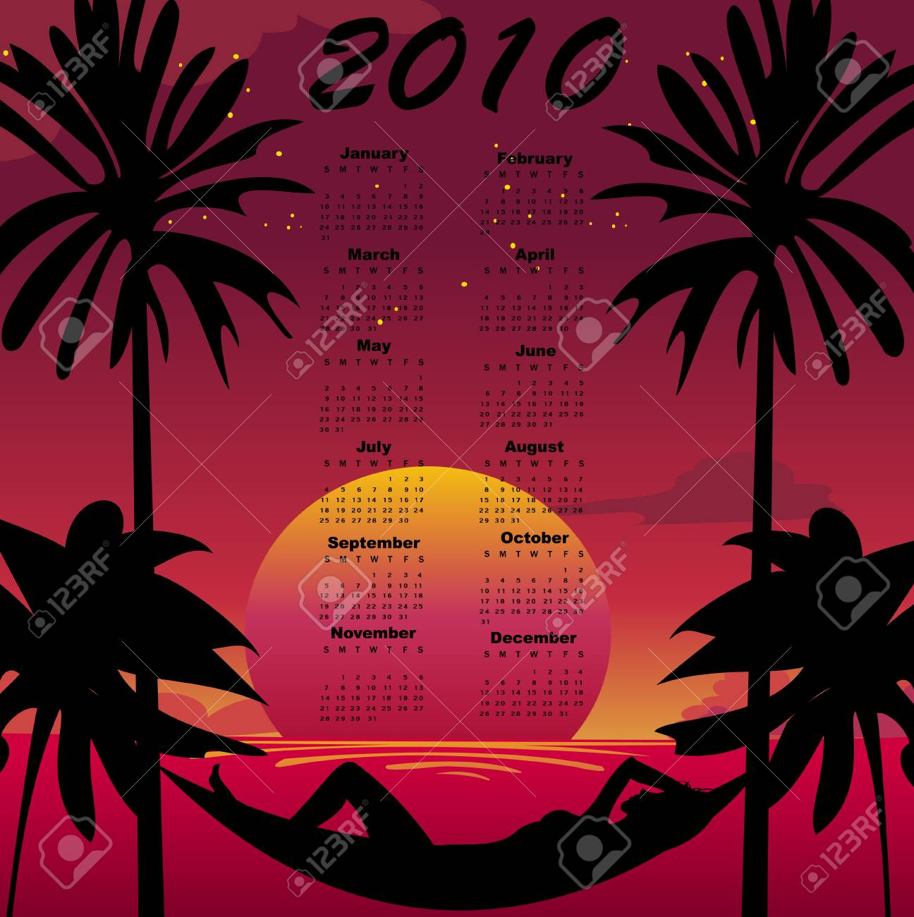 Vector Illustration of stylish design Calendar for 2010 with summer background. Stock Vector - 5861397