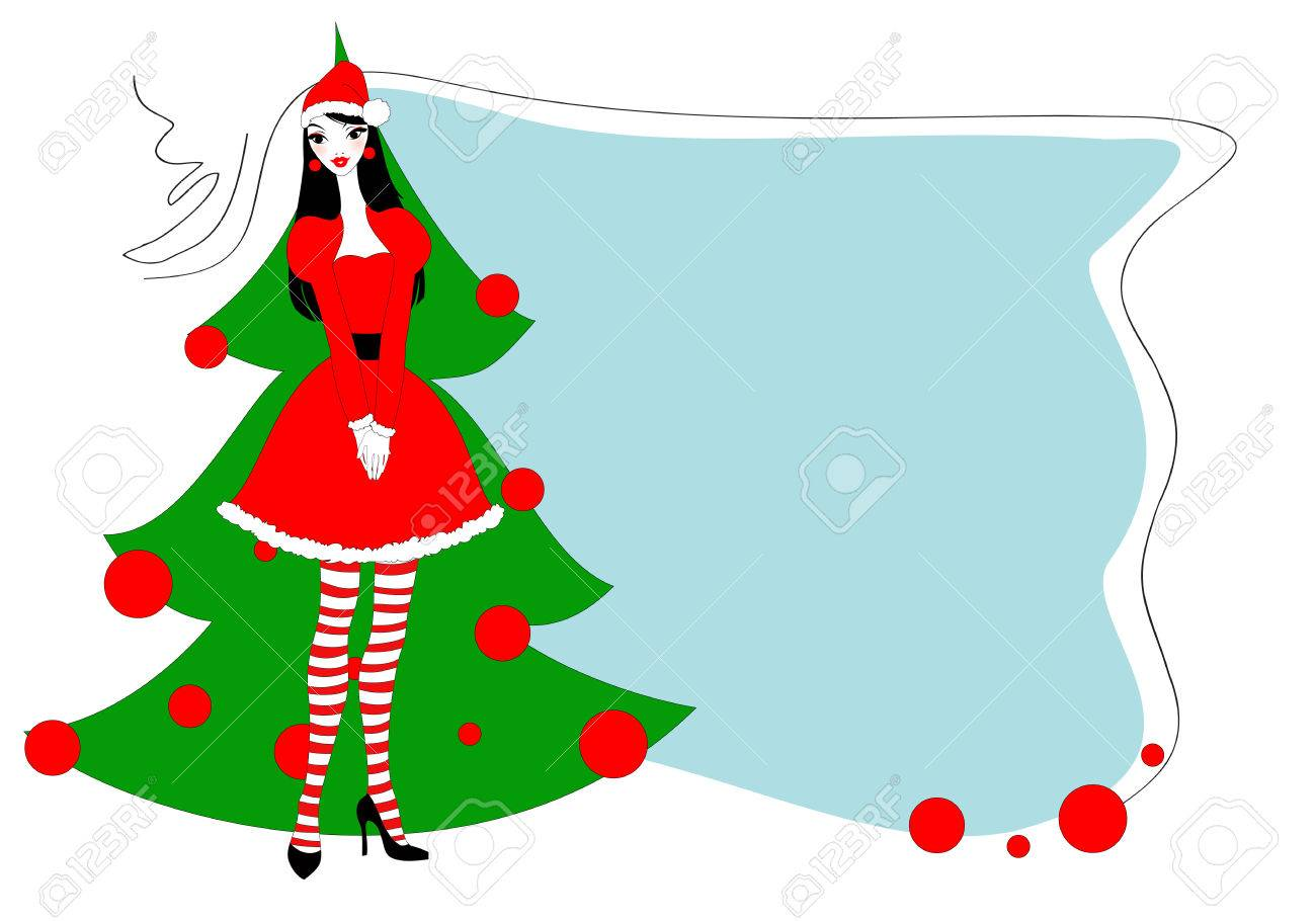 Vector Illustration Of Funky Christmas Gteeeting Card With ...