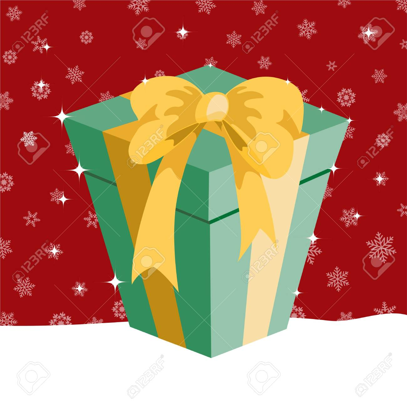 illustration of Christmas presents box on the red background with the white snowflakes Stock Photo - 6158436