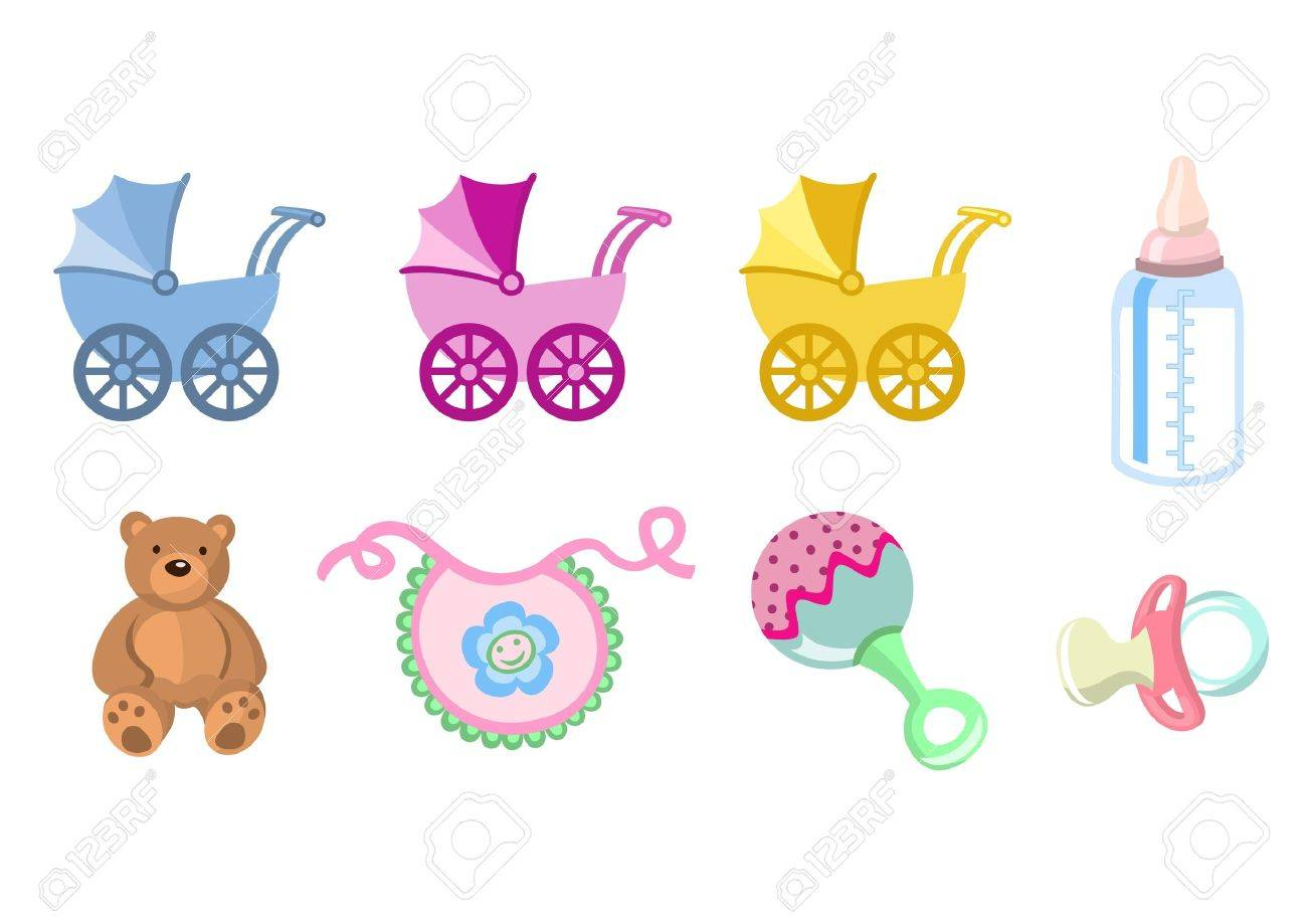 illustration of baby icons. Includes carriage, bottle, teddy bear, bib, pacifier and rattle. Stock Illustration - 6158432