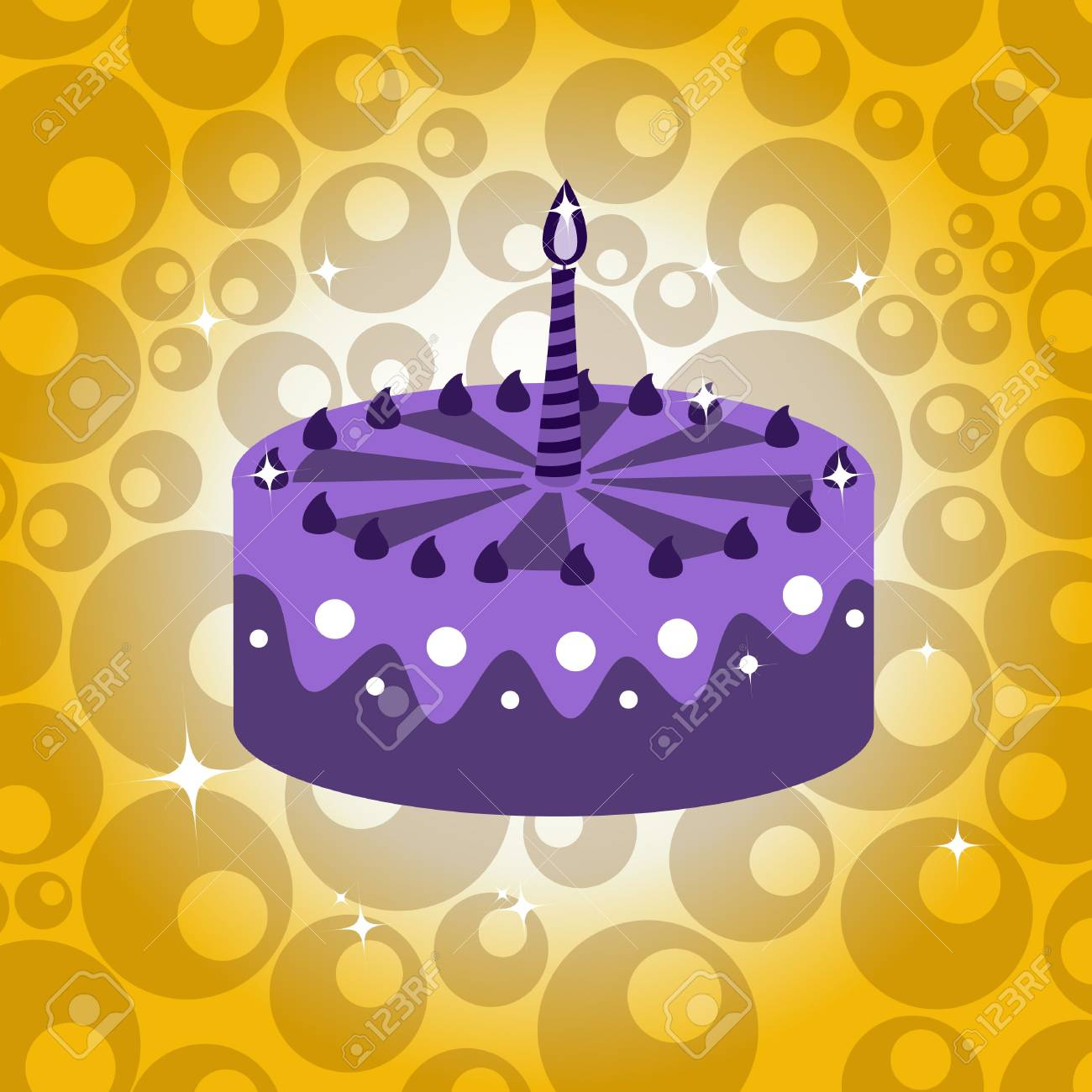 illustration of birthday cake with the candle. Stock Illustration - 6605453