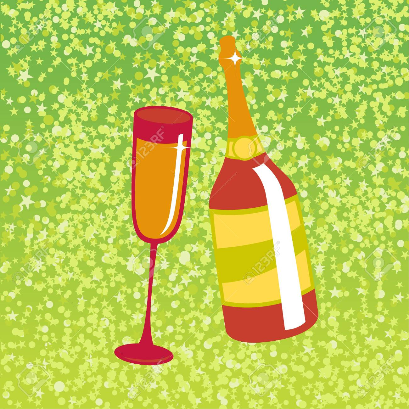 illustration of wine bottle and  glass on the red background, decorated with beautiful stars. Stock Illustration - 6605457