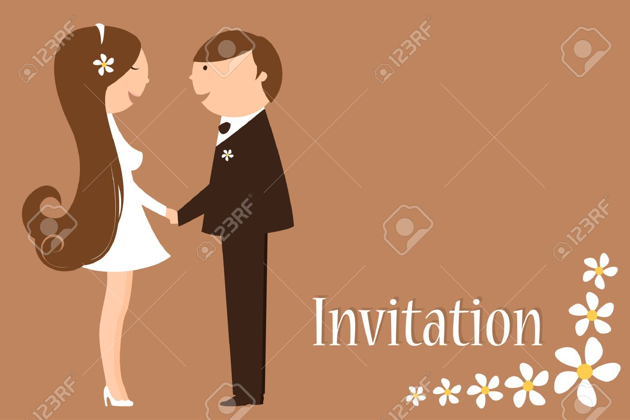 Illustration Of Funky Wedding Invitation With Funny Bride And ...