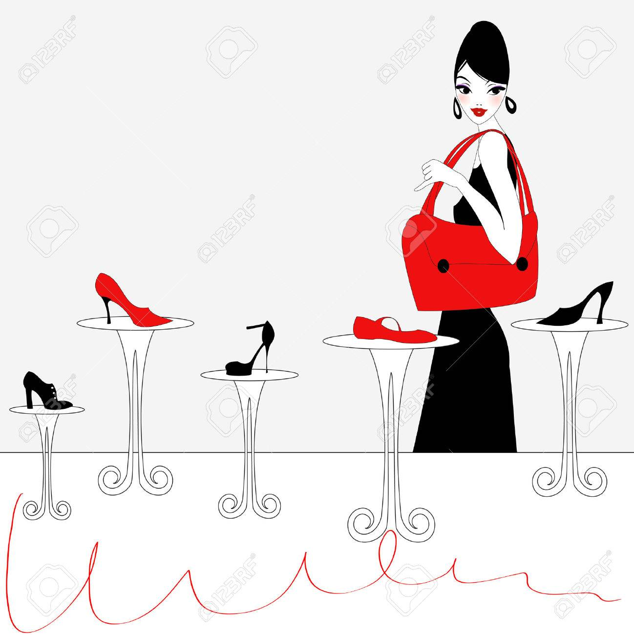 Illustration of funky beautiful sexy girl shopping for a new pair of shoes Stock Vector - 6940459