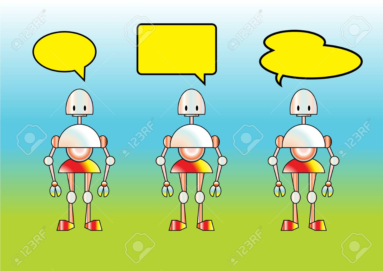 illustration of funny robots decorated with comics bubbles Stock Vector - 7237781