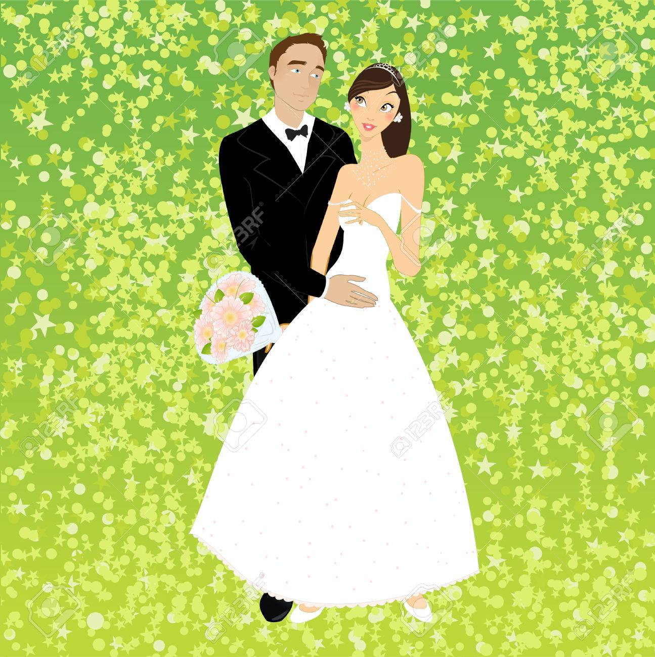 illustration of funky invitation with cool young couple - 7866843