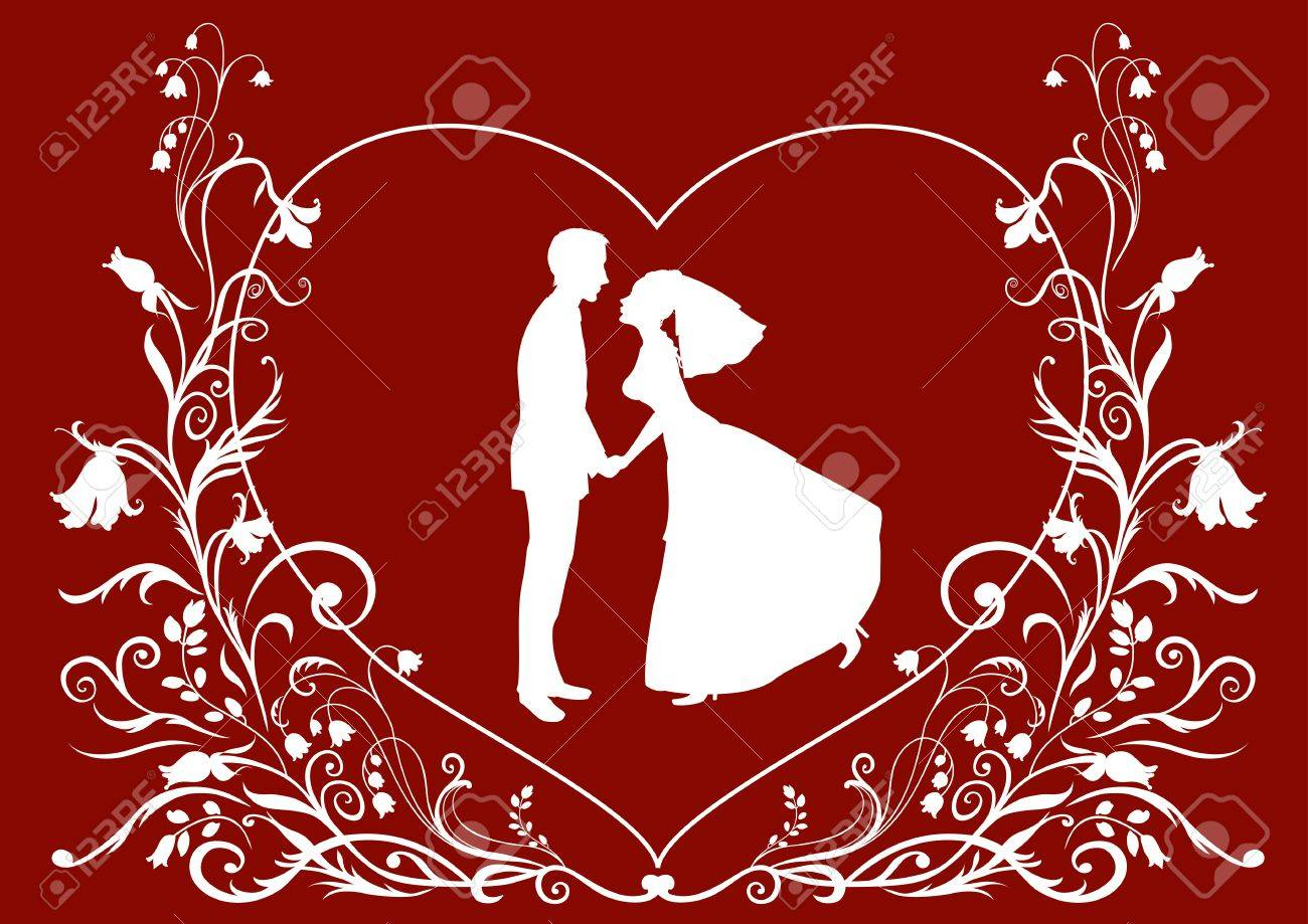 Illustration Of Bride And Groom On The Elegant Background Decorated ...