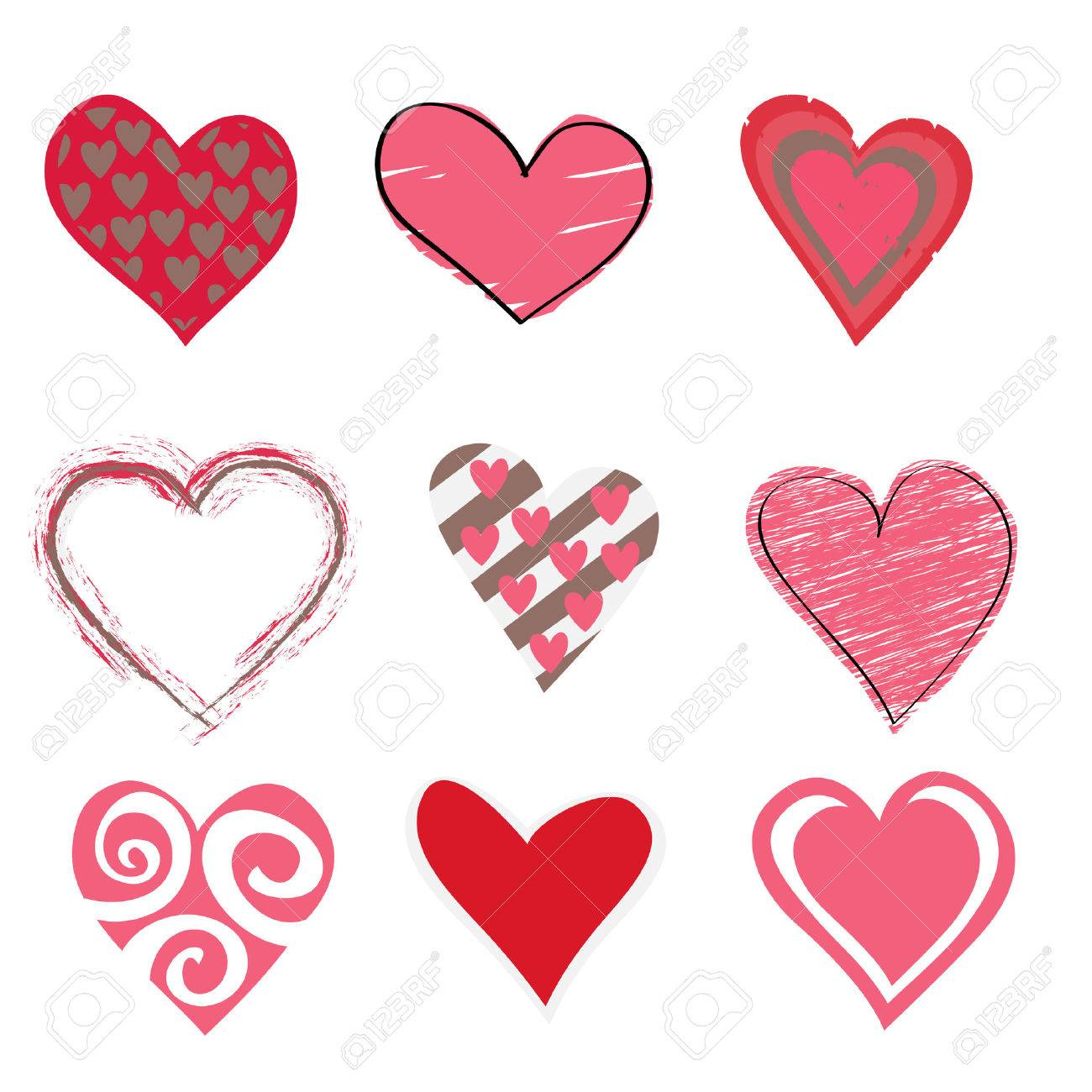 Illustration Of Beautiful Hearts Icon Set Ideal For Valentine – Beautiful Valentines Cards