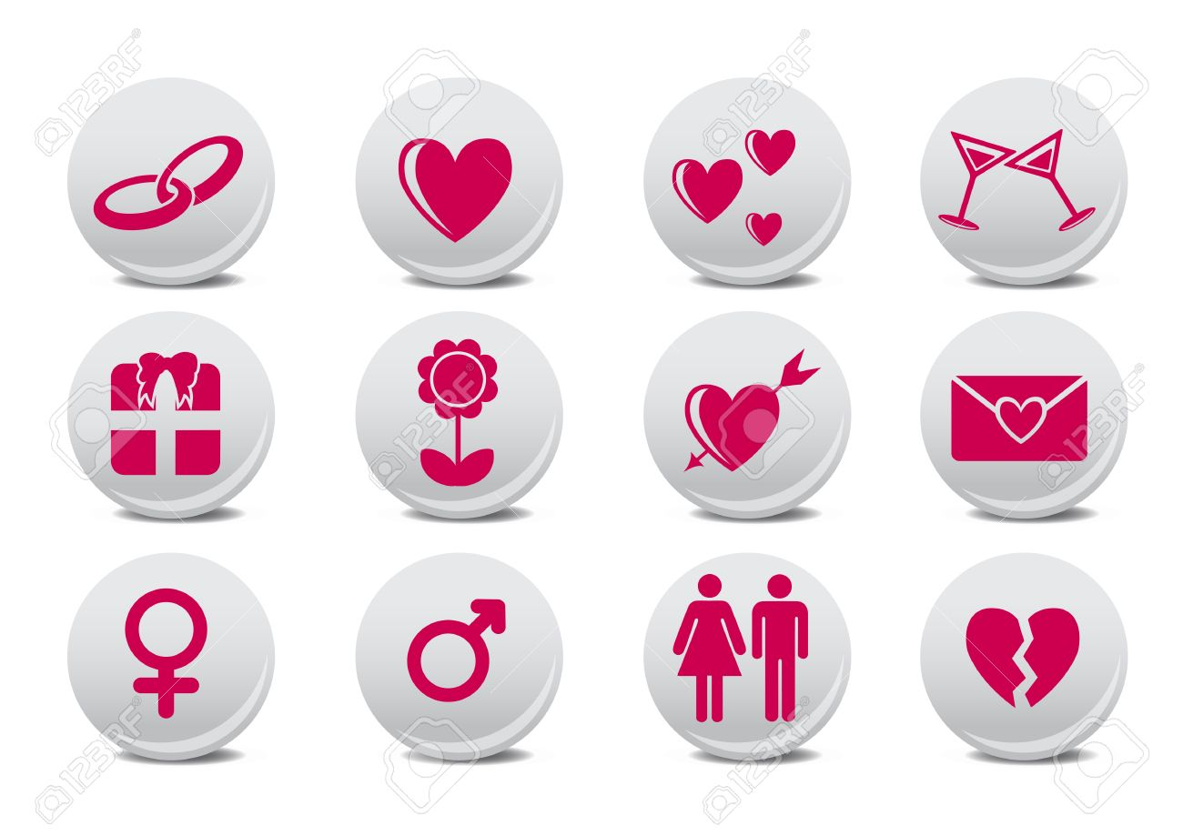 Vector illustration of Love buttons.  Ideal for Valetine Cards decoration Stock Vector - 8779009