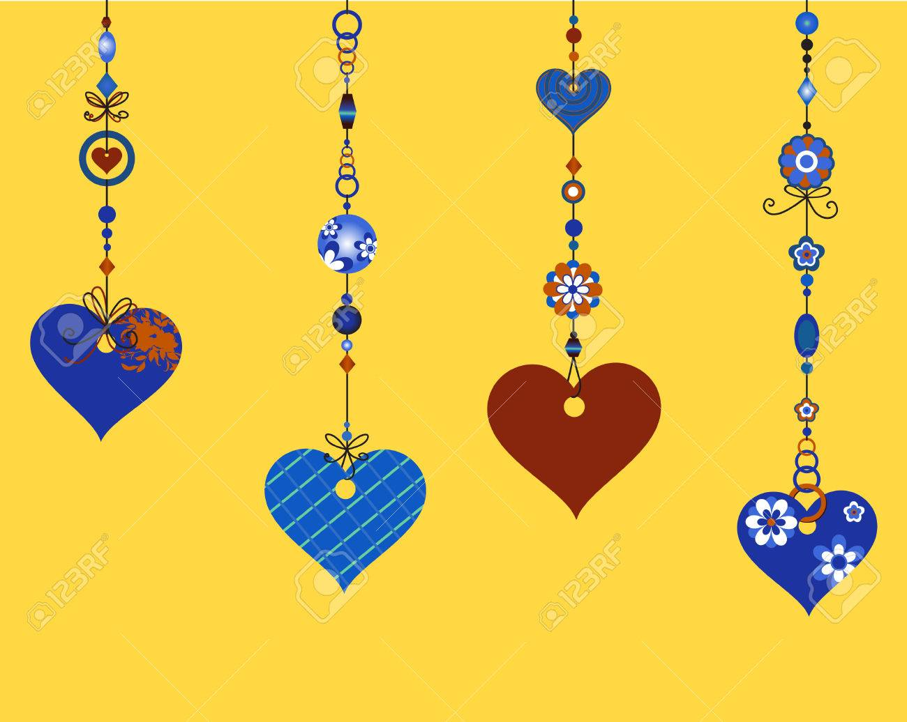 Vector Illustration Of Decorative Wind Chimes With Fanky Heart