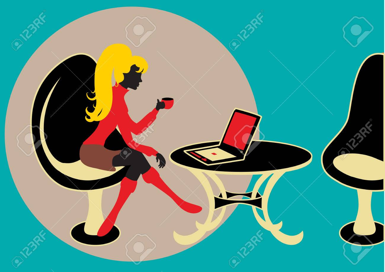 Vector Illuctration of young business woman, working on the computer and drinking coffee. Includes office equipment, table and chairs. Stock Vector - 9135026