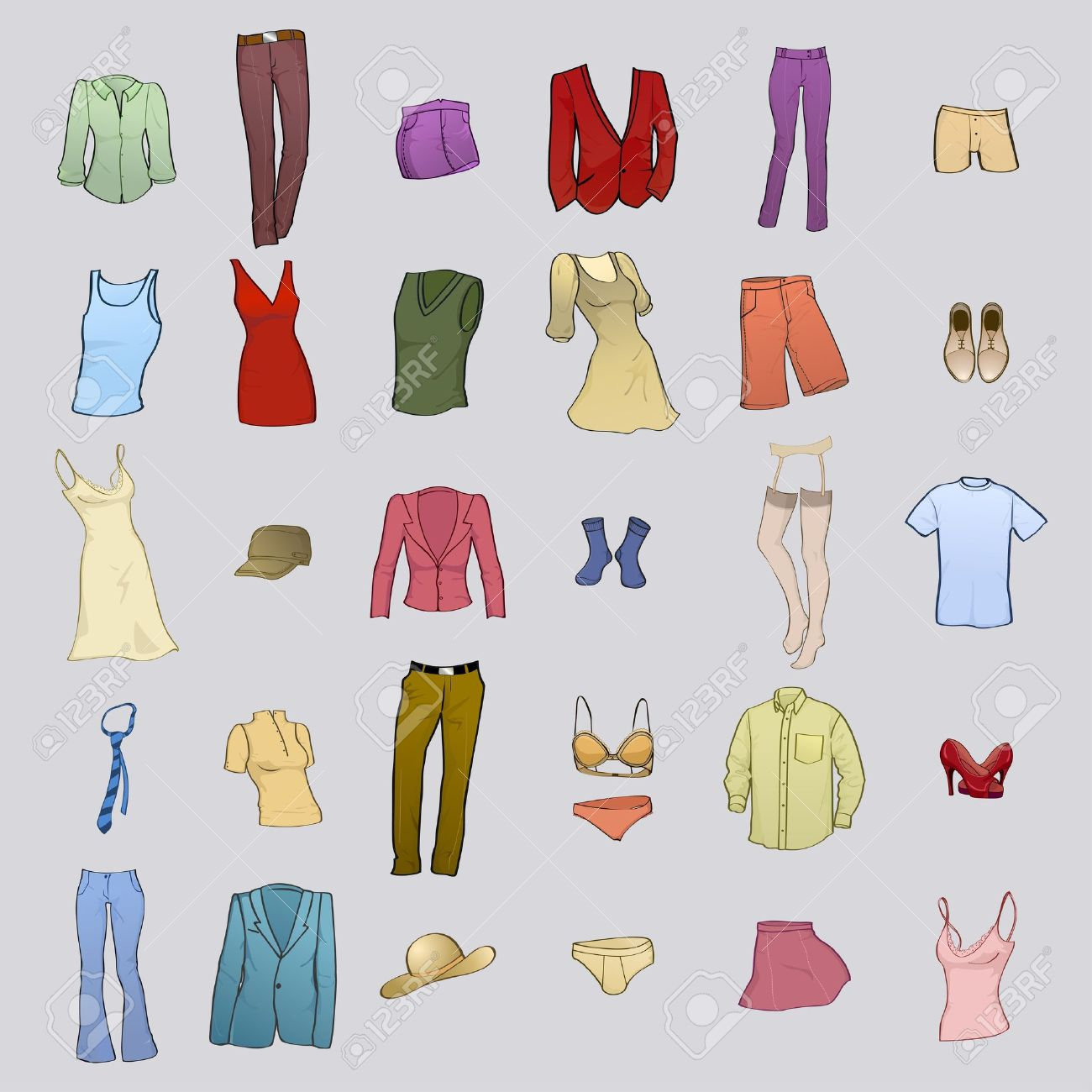 Vector illustration of cool men and women clothes icon set Stock Vector - 9572068