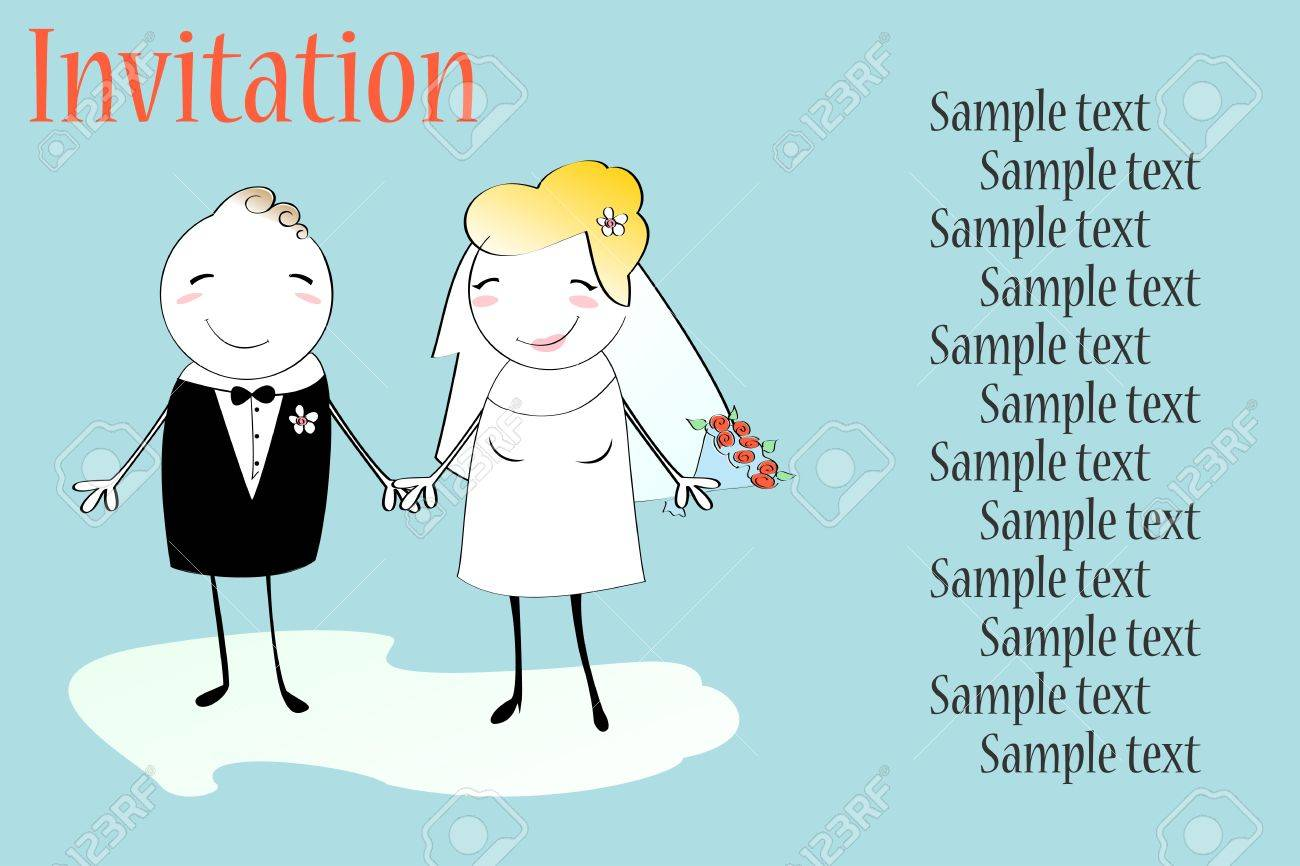 Vector Illustration Of Funky Wedding Invitation With Funny Bride ...