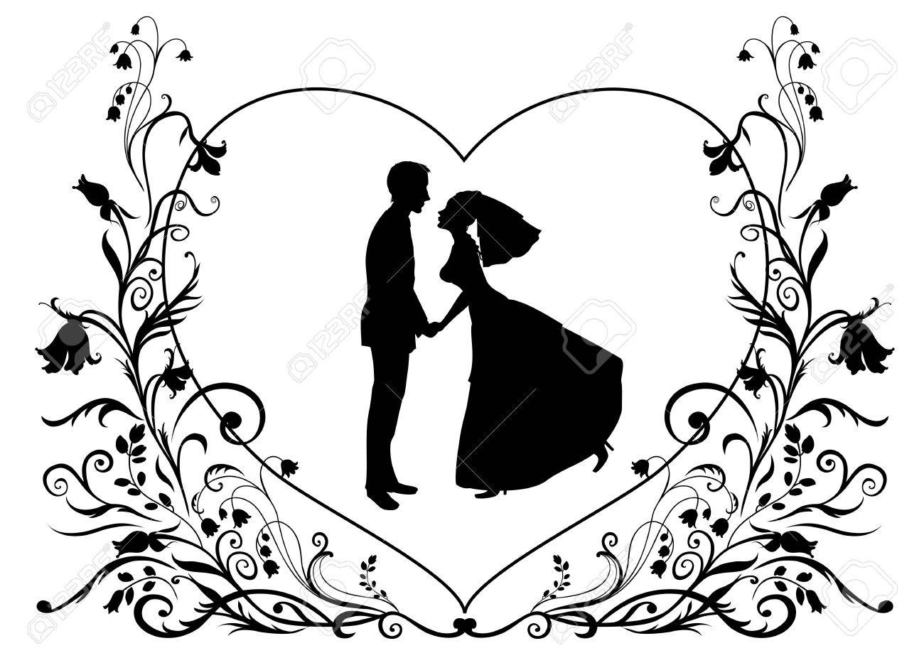 Vector illustration of bride and groom on the elegant background decorated with heart shape and flowers. Ideal for wedding invitation. Stock Vector - 9815301