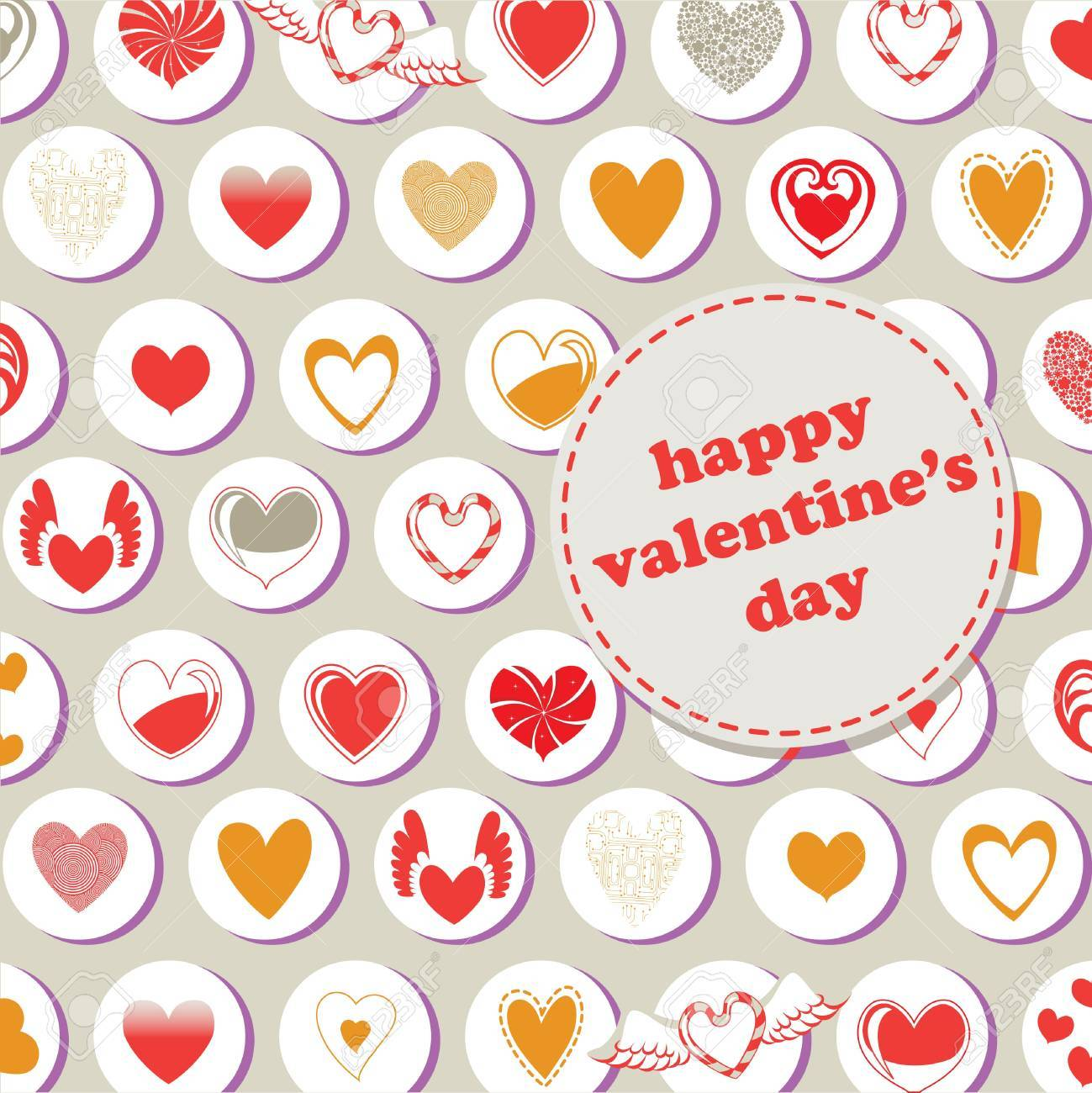 Valentine's Day pattern, decorated with different kinds of heart. Stock Photo - 9960186
