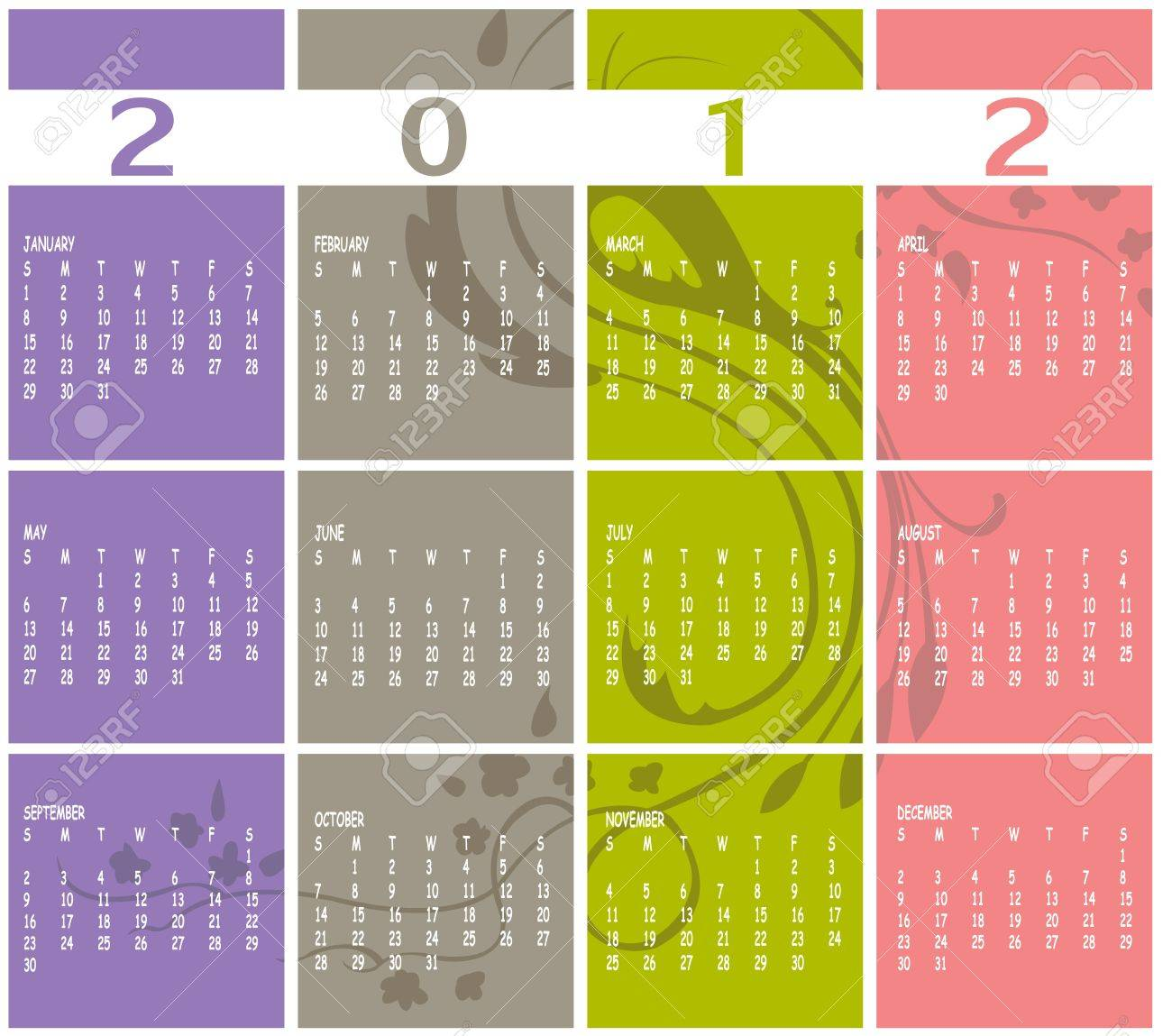 Illustration of style design Colorful Calendar for 2012 Stock Vector - 11412461