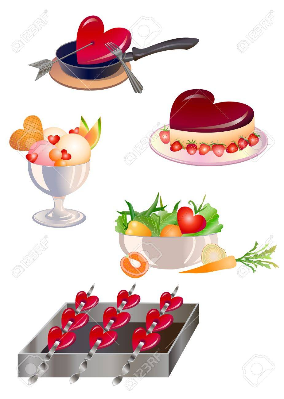illustration of food design elements for  valentine`s day greeting cards Stock Photo - 12407940