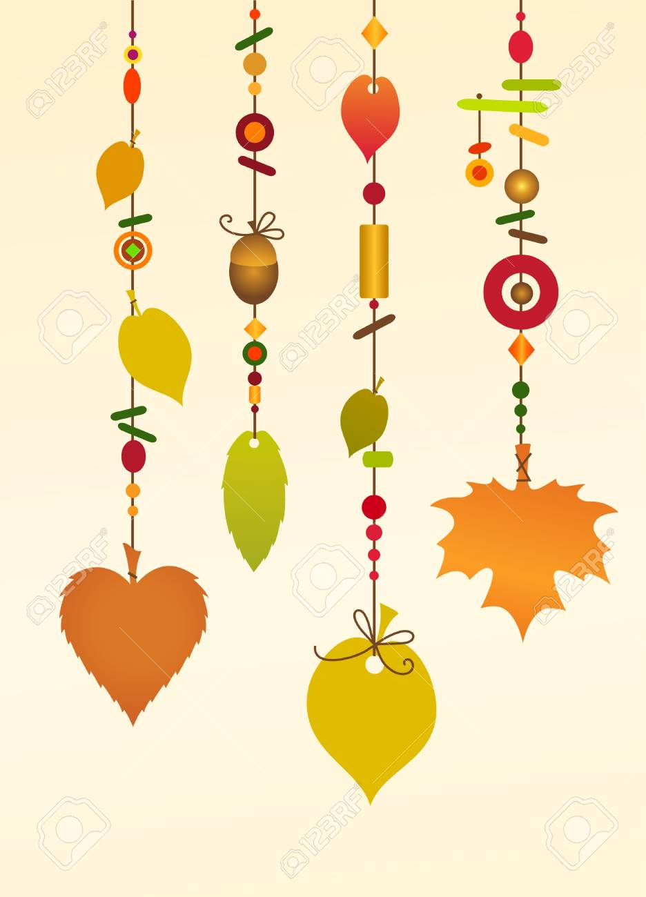 Illustration Of Decorative Wind Chimes With Floral Leaf Shape