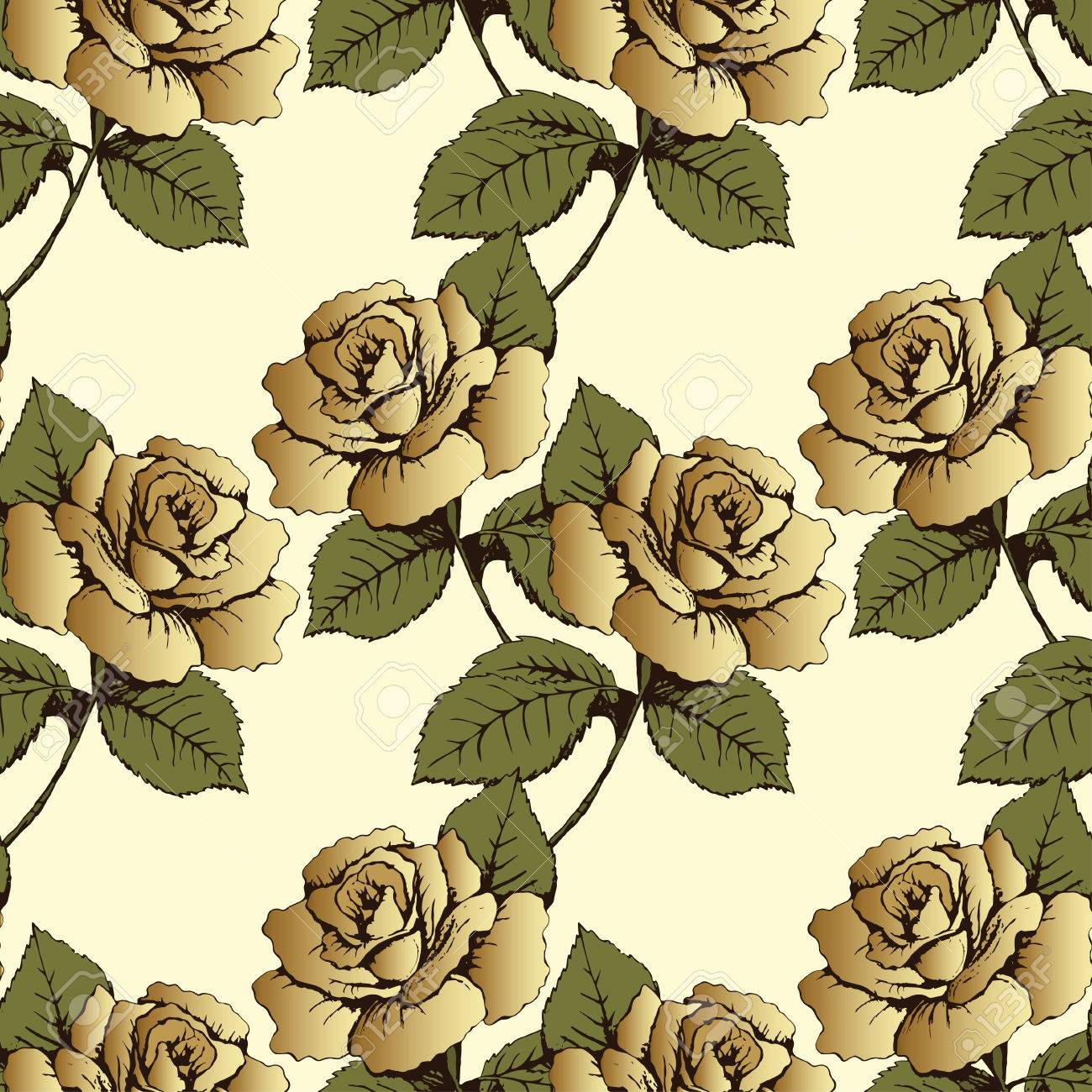 Seamless Pattern From Gold Flowers Roses Woven Buds Leaves And Stems On