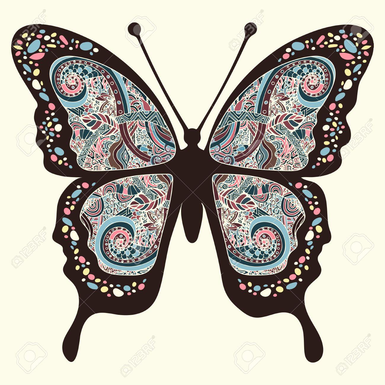 Mariposa Con Patrones. Alas Con Adornos Multicolores Orientales En ...