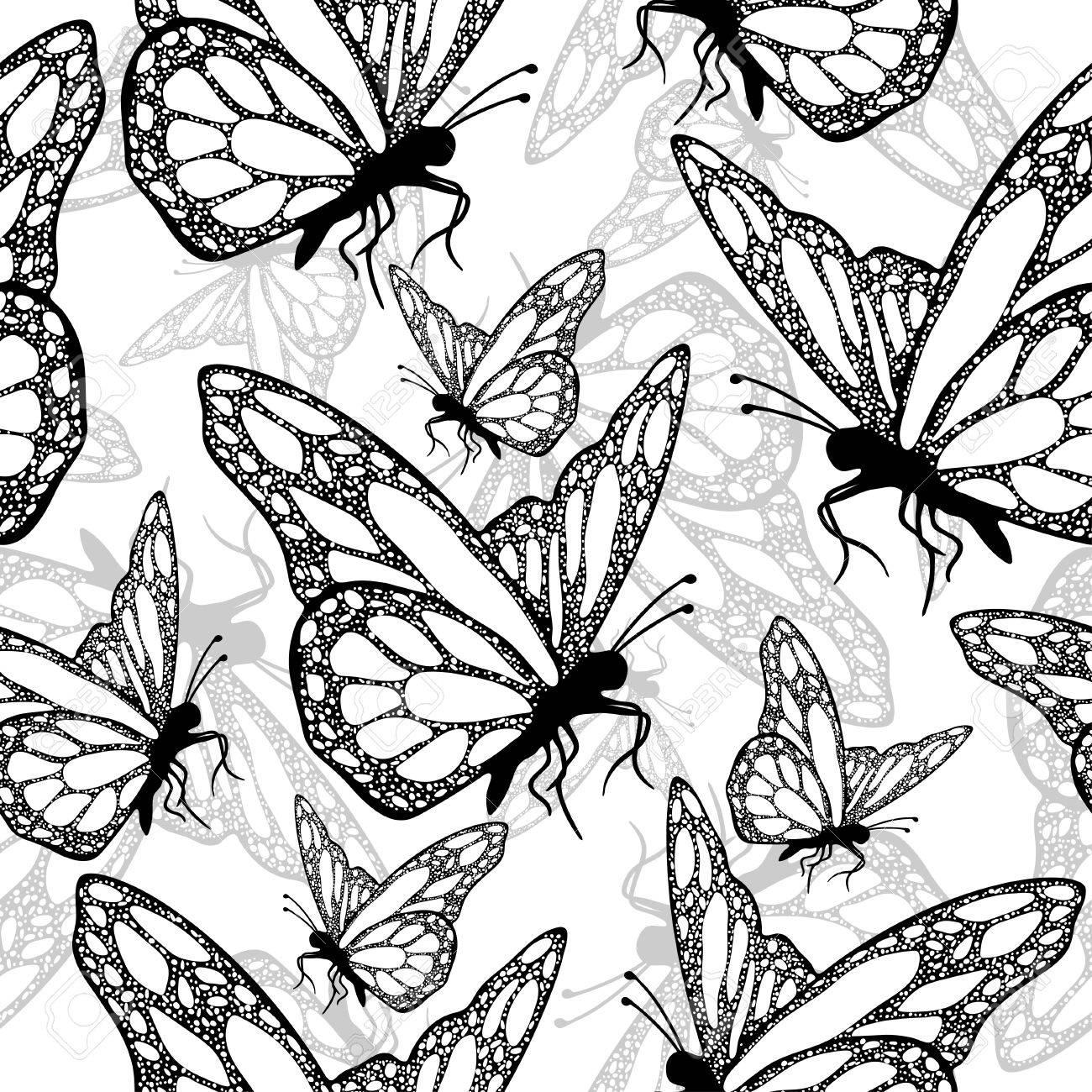 Vettoriale Farfalle Modello Senza Soluzione Di Continuità In