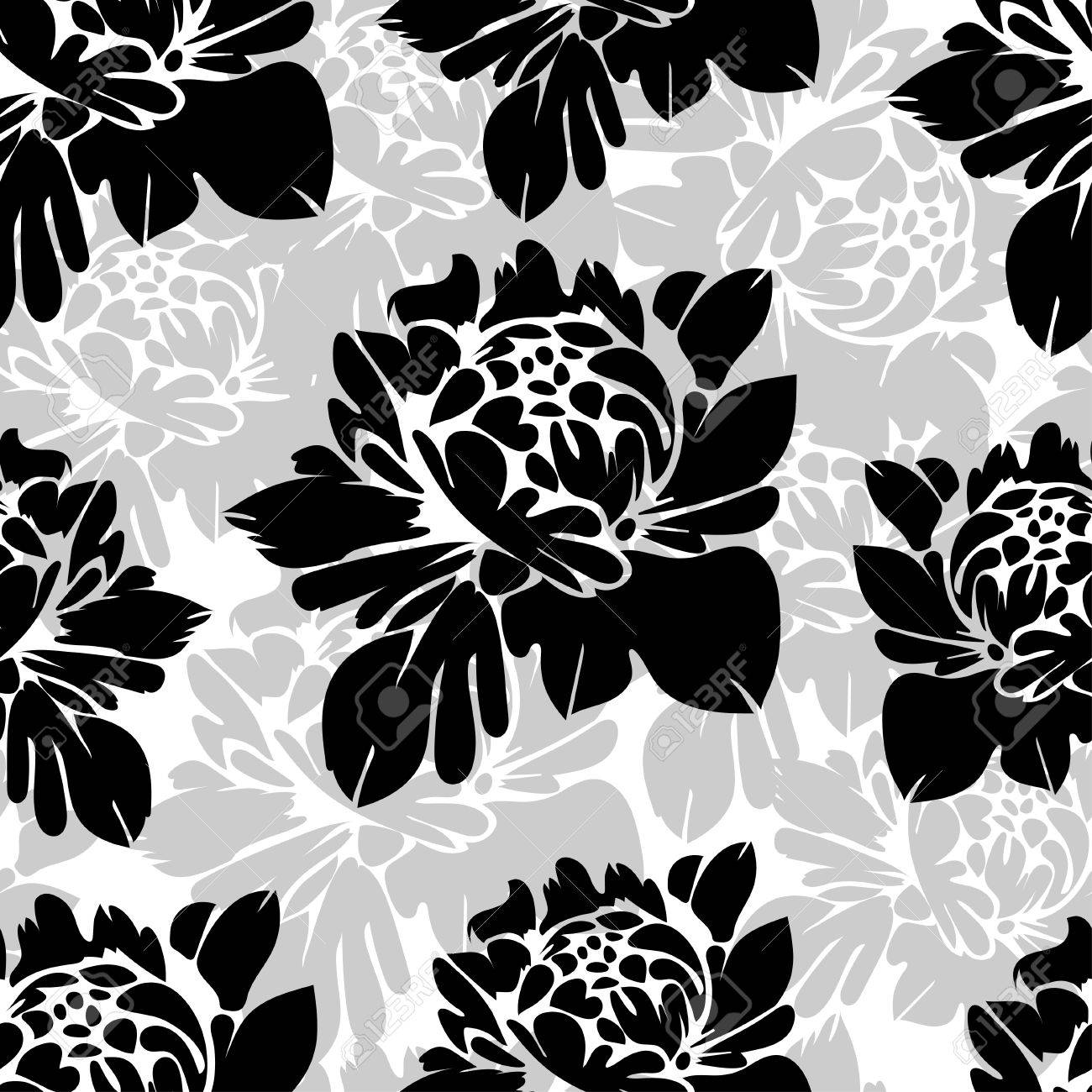 Abstract Black And White Flowers Seamless Pattern Royalty Free