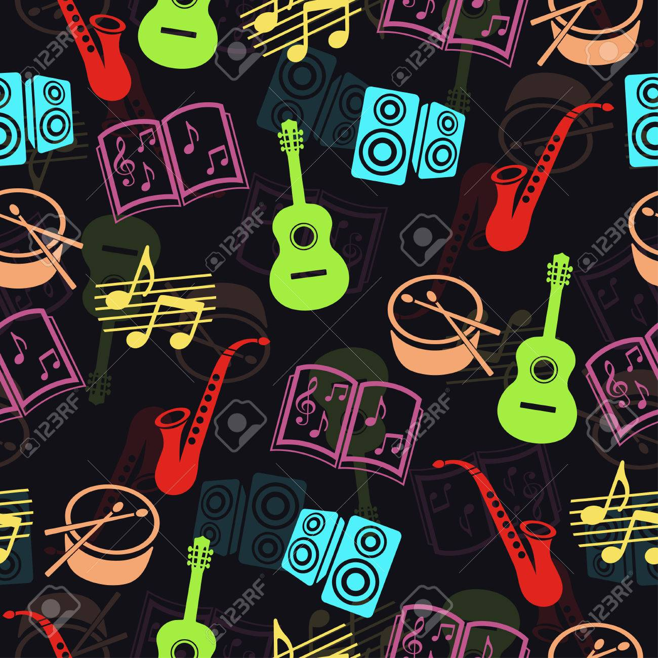Musical vector background, music accessories seamless pattern