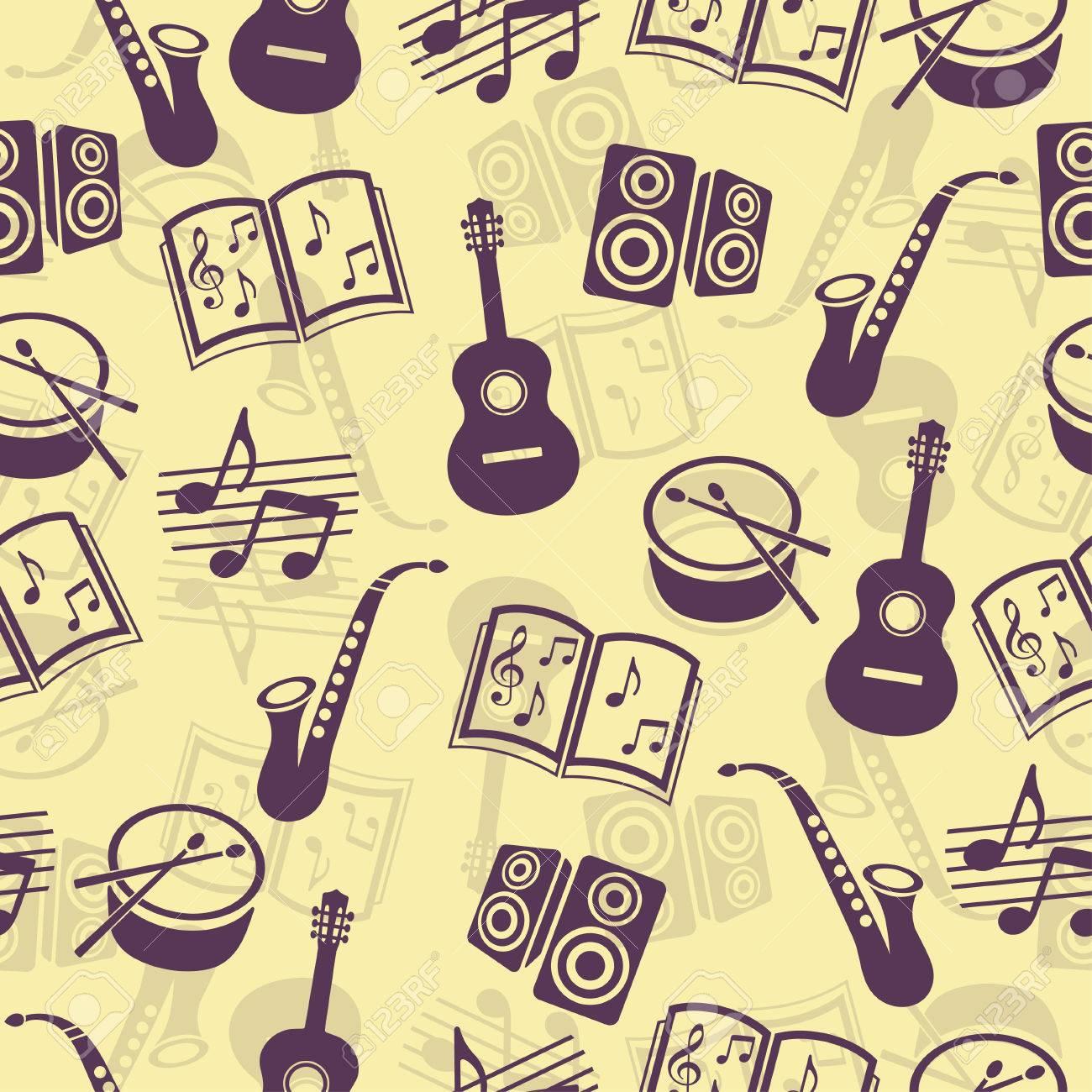Vector De Fondo Musical Accesorios De Música Patrón Transparente