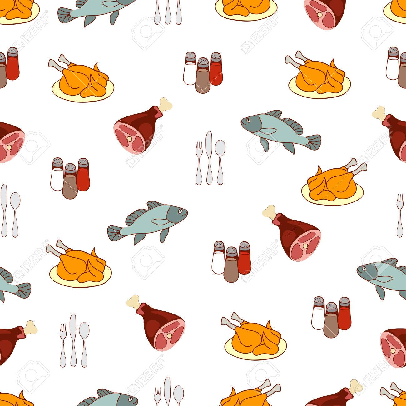 Food Background, Meat And Fish. Drawn Cartoon Multicolored ...