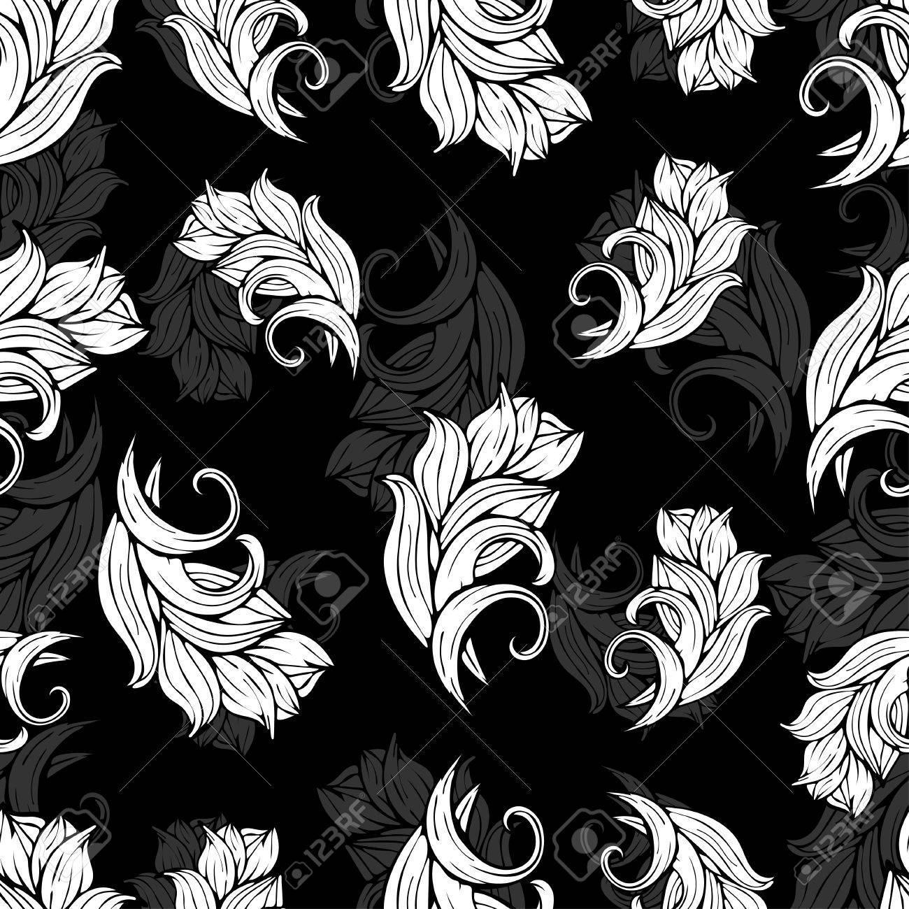 Teste Padrão Sem Emenda Abstrato Das Flores E Das Plantas Fundo Preto E Branco Monocromático Ornamento Estilizado Natural Mão De Desenho Para