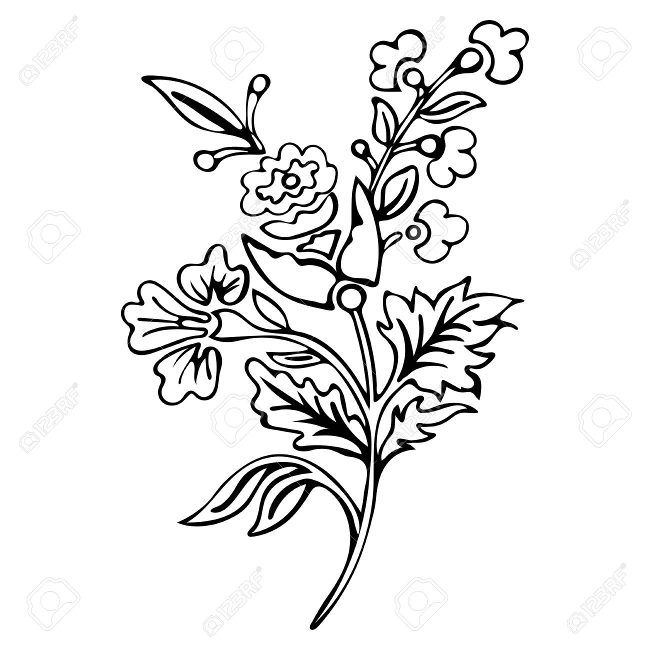 Ausmalbilder Blumen Blüten : Abstrakte Blume Fantasiebl Te Ausmalbilder Skizze Monochrom