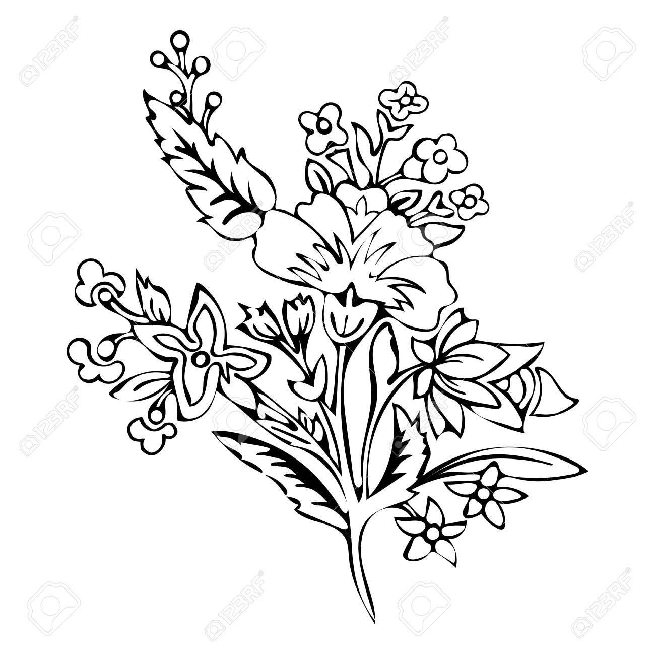 Abstrakte Blume Fantasiebl Te Ausmalbilder Skizze Monochrom