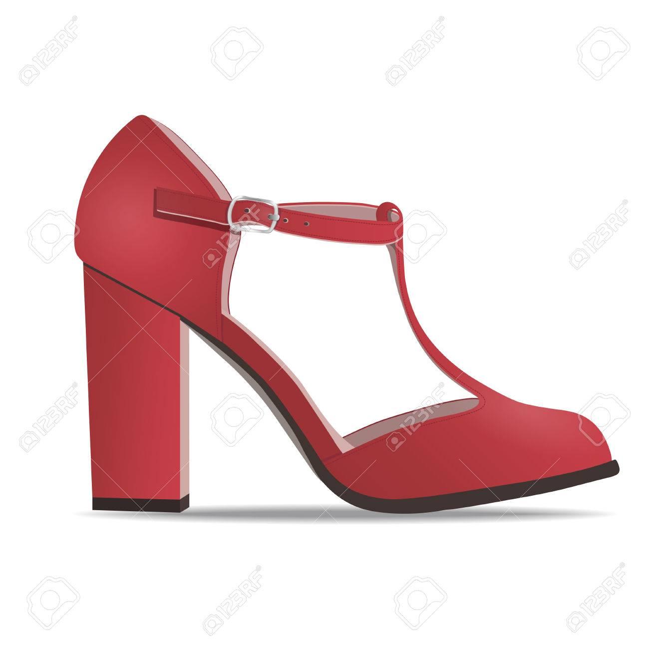 5854082d Foto de archivo - Vector de zapatos, mujeres zapatos bajos rojo con correas  en tacón alto, aislado