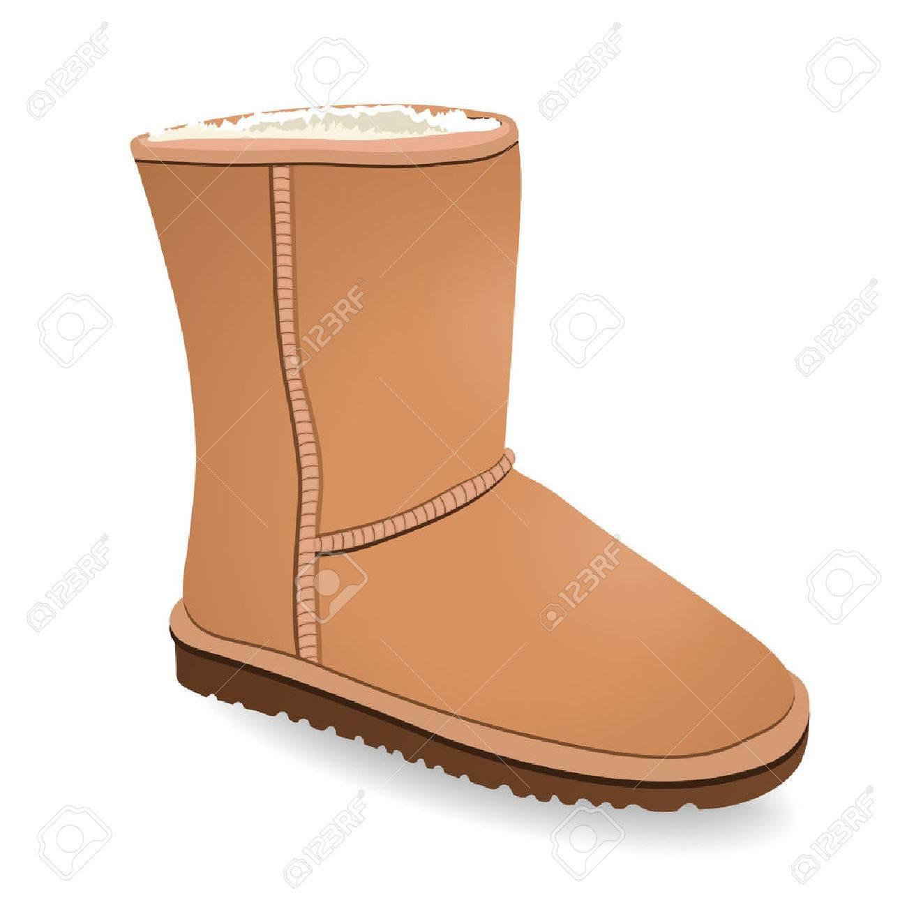 Chaussures, bottes d'hiver brun beige isolées avec fourrure.