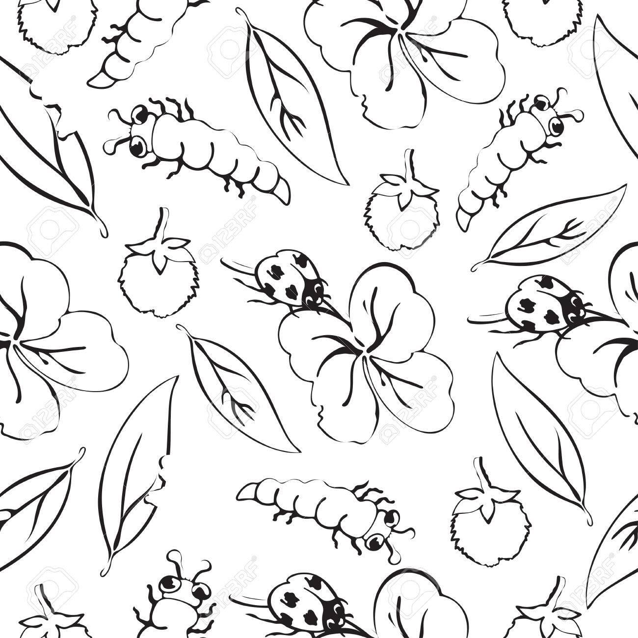Dibujo De Dibujos Animados Dibujo Insectos Hojas Y Flores De Trebol