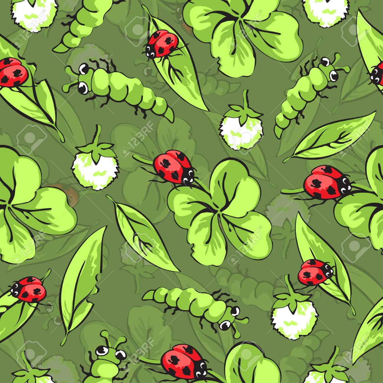 手描きの昆虫 葉 クローバー生地デザインや壁紙のパターンの花の漫画