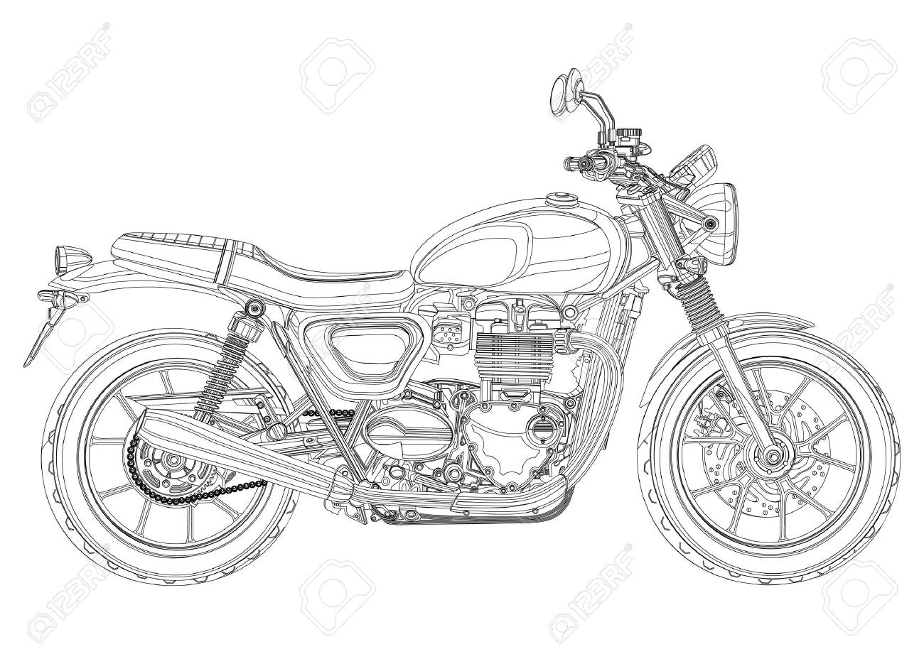Motorcycle Vector Monochrome Black And White Sketch Coloring