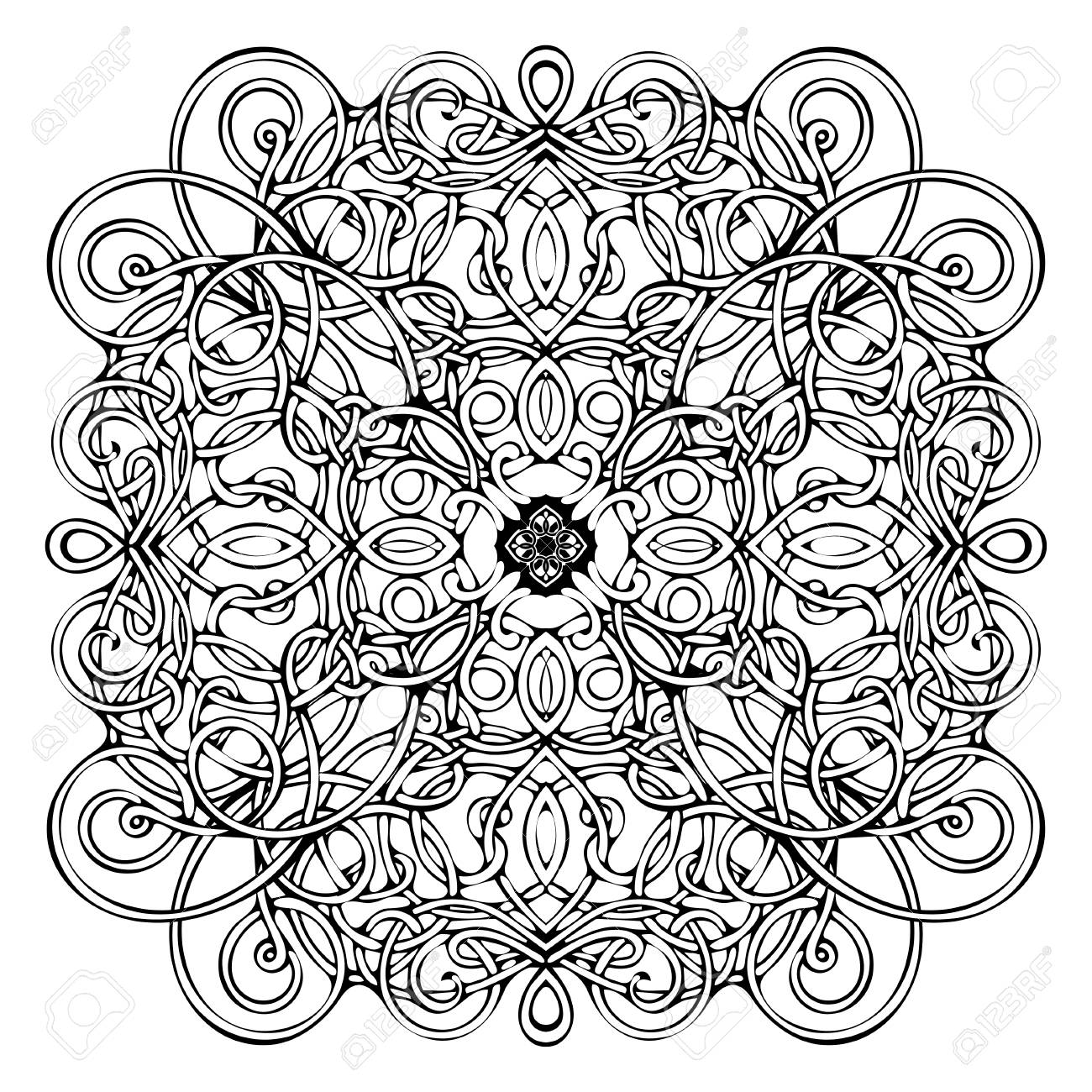Patrón Celta, Ornamento De Mimbre De Vector, Elemento Decorativo De ...