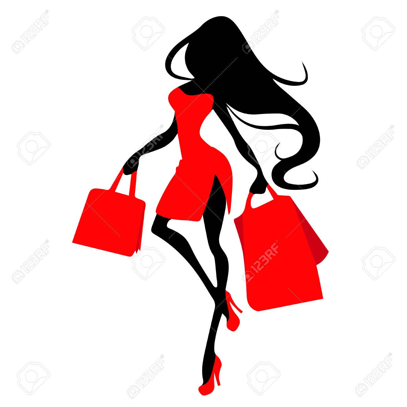 6d7520de9cc Silhouette woman with shopping bag, vector banner template for..
