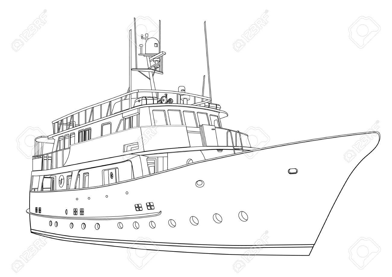 Yacht Vector Contour Silhouette Ship Isolated On White Background Black And Drawing For